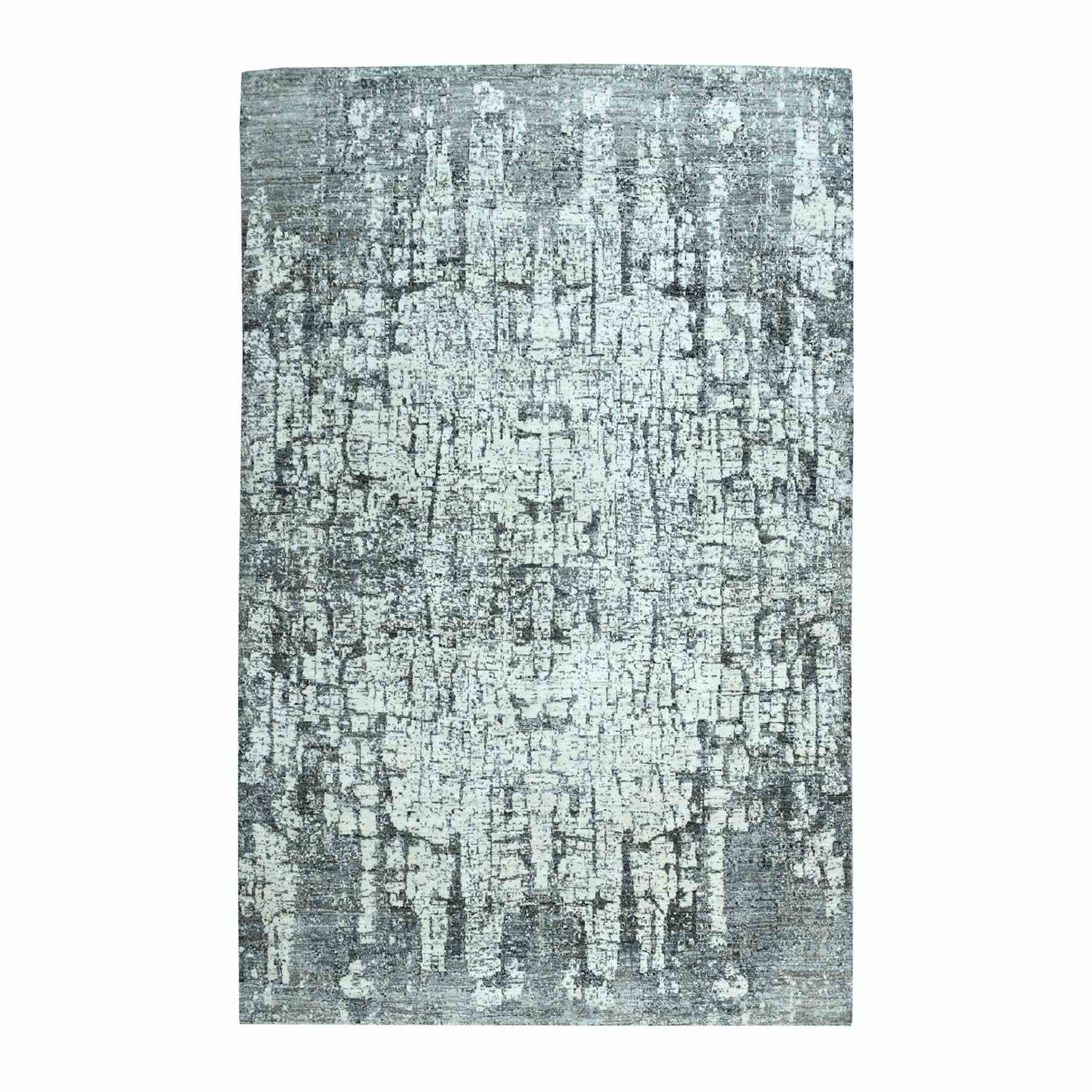 "5'9""X9' The Tree Bark Abstract Design Hand-Knotted Soft Wool Rug moaea70b"