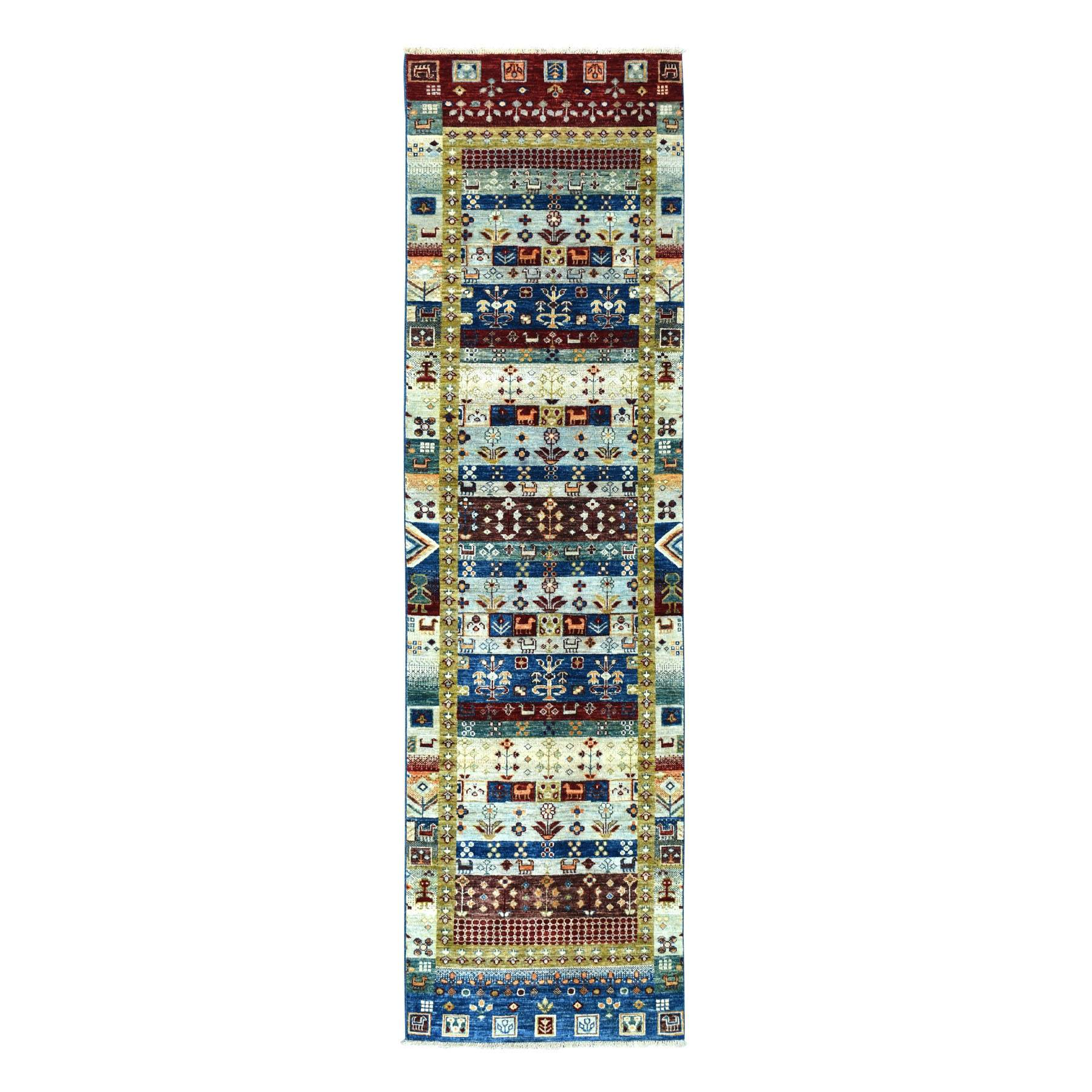 """2'7""""X9'9"""" Colorful Kashkuli Gabbeh Pure Wool Hand Knotted Runner Oriental Rug moaea7bd"""