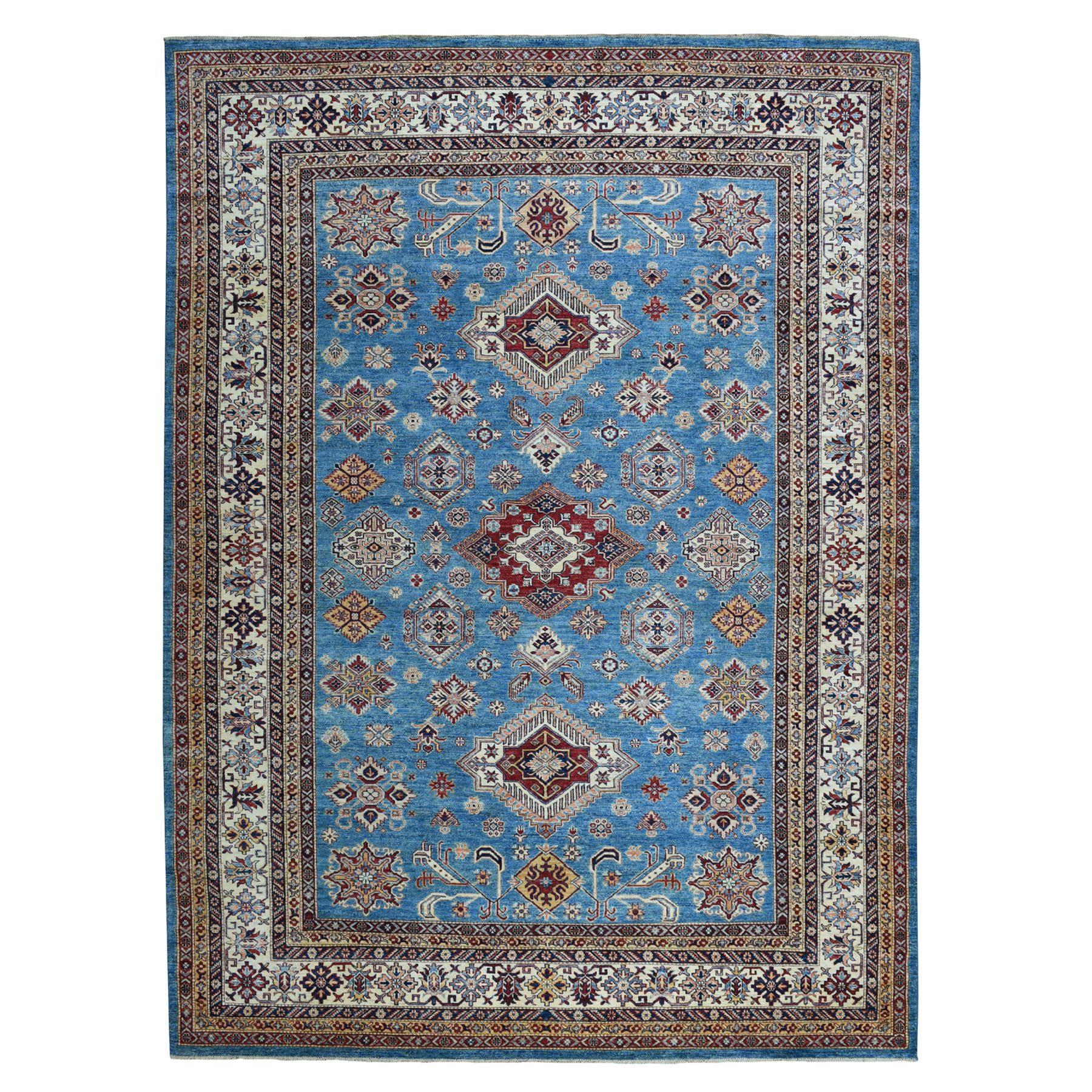 "8'8""X12'4"" Blue Super Kazak Geometric Design Pure Wool Hand Knotted Oriental Rug moaea77d"