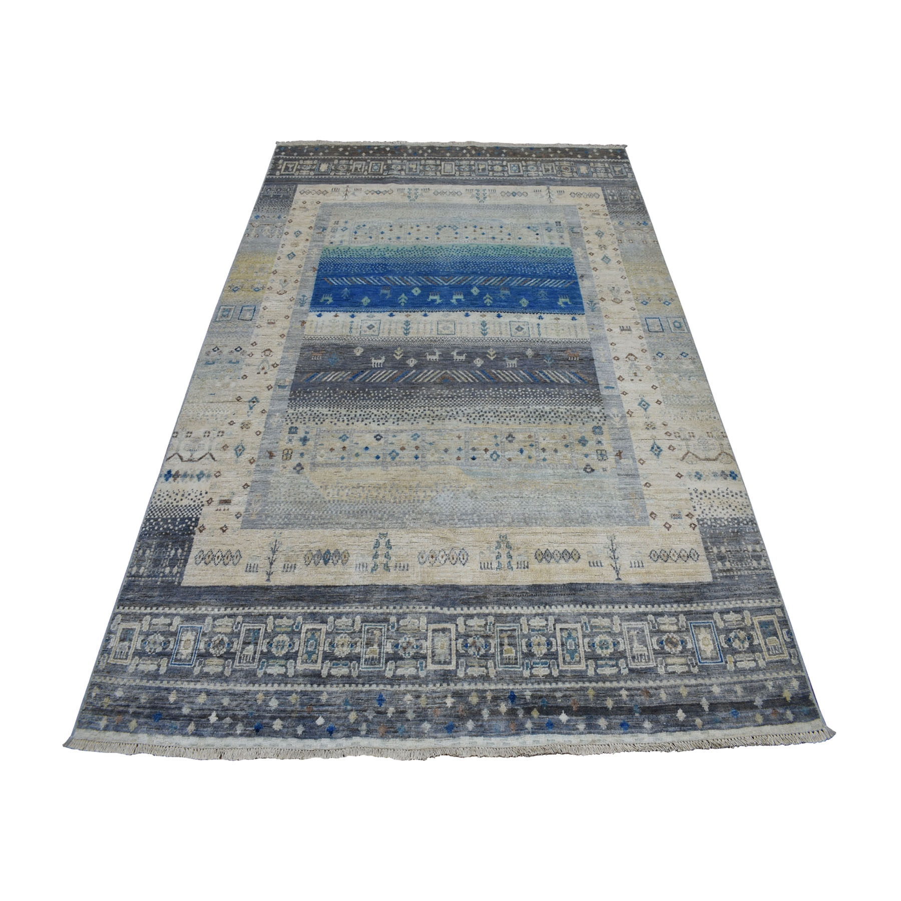 """5'7""""X7'8"""" Gray Pure Wool Kashkuli Gabbeh Pictorial Hand Knotted Oriental Rug moaea78d"""