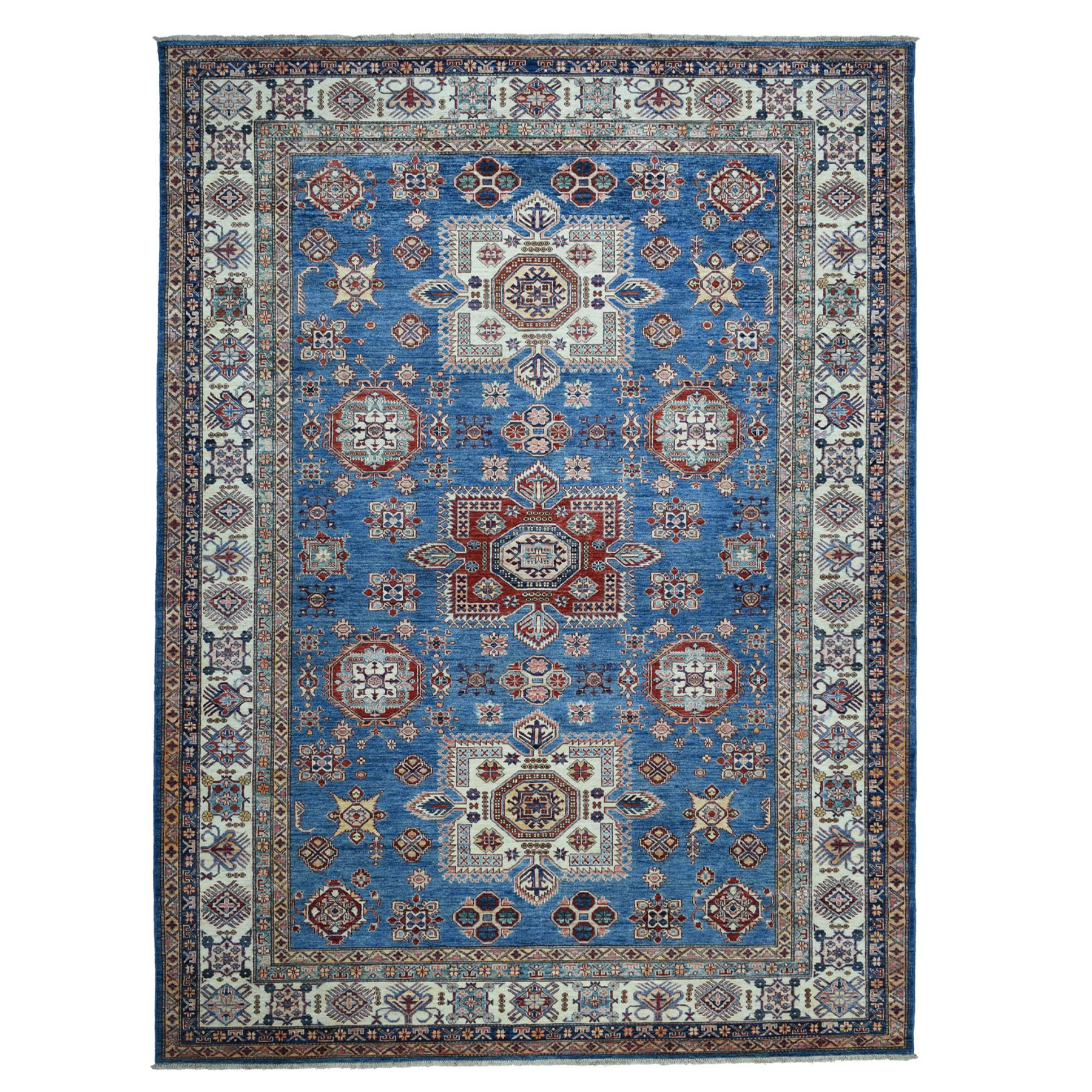 "8'7""X12'4"" Blue Super Kazak Geometric Design Pure Wool Hand Knotted Oriental Rug moaea796"