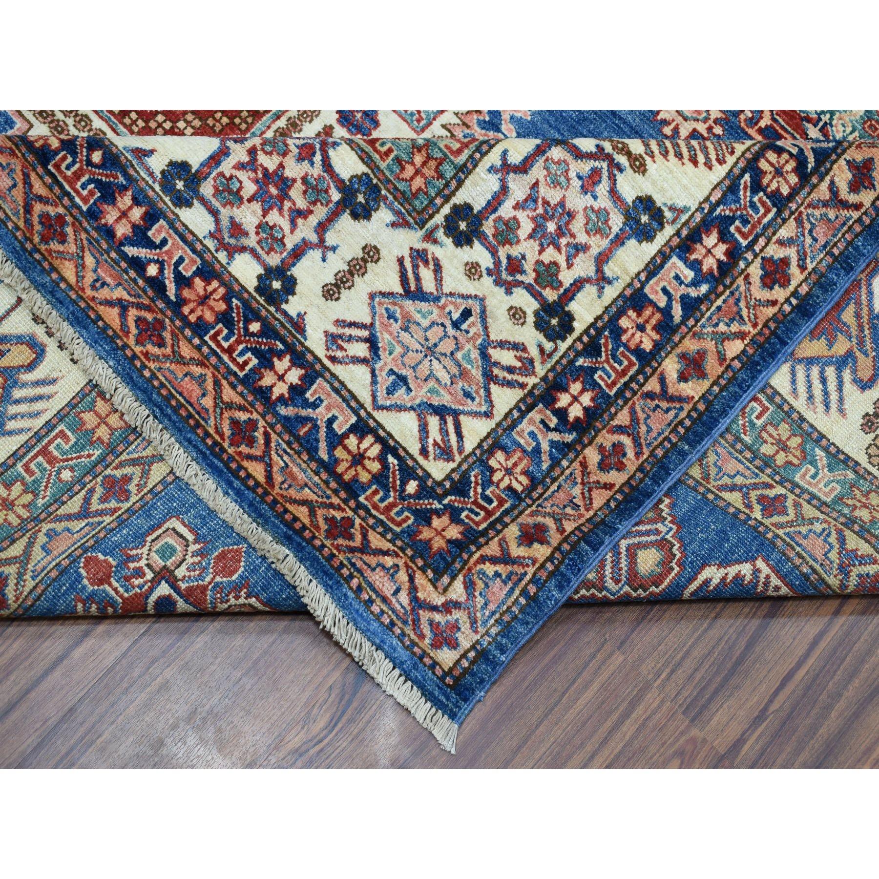 "8'7""x12'4"" Blue Super Kazak Geometric Design Pure Wool Hand Knotted Oriental Rug"