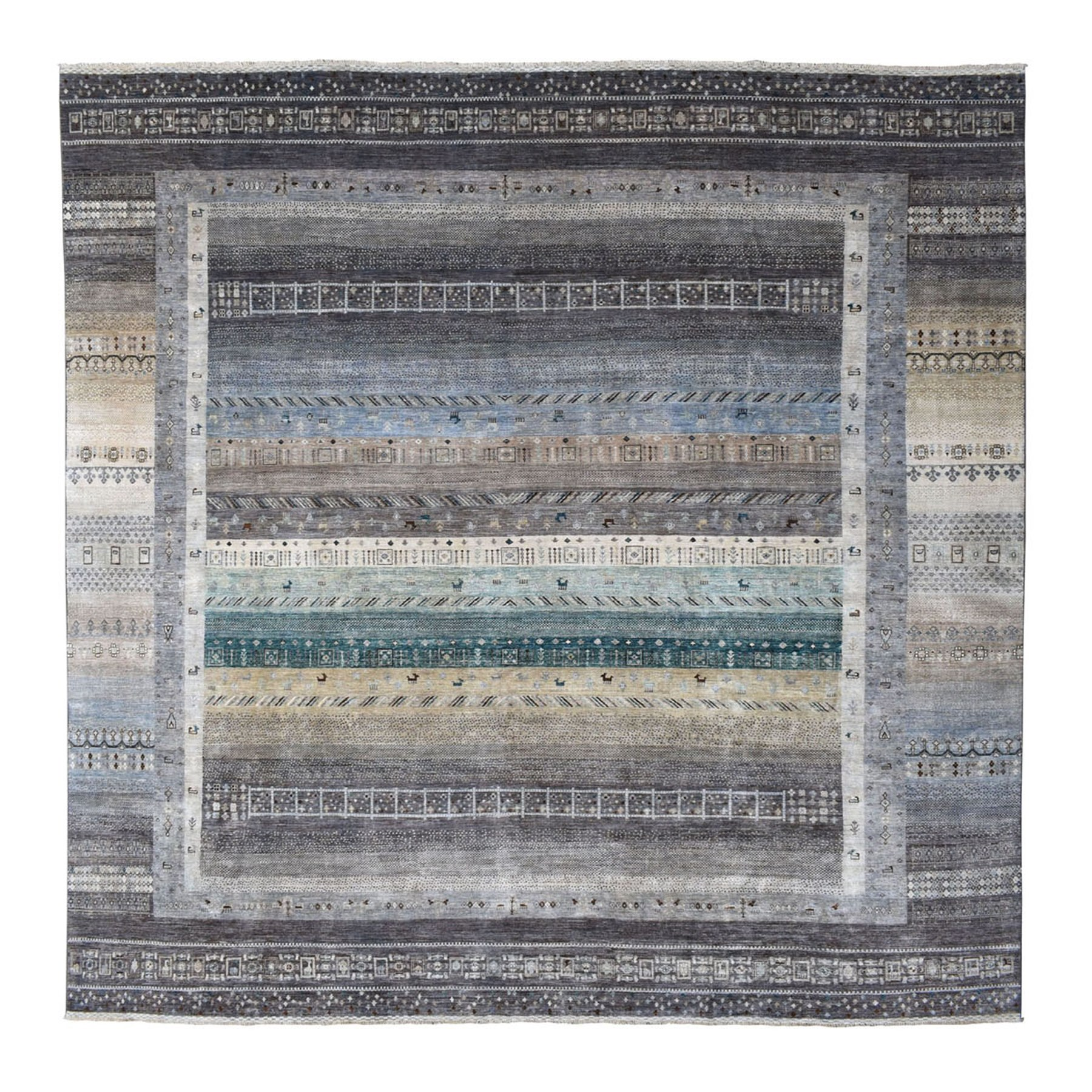 "13'7""x13'7"" Gray Square Pure Wool Kashkuli Gabbeh Pictorial Hand Knotted Oriental Rug"