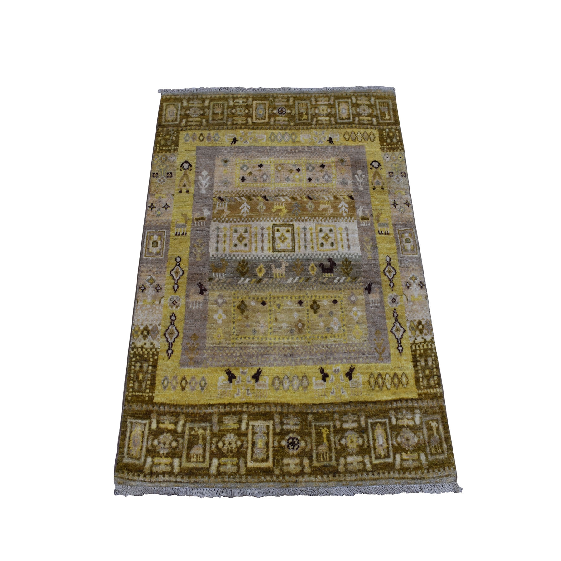 "2'8""x3'9"" Yellow Pure Wool Kashkuli Gabbeh Pictorial Hand Knotted Oriental Rug"