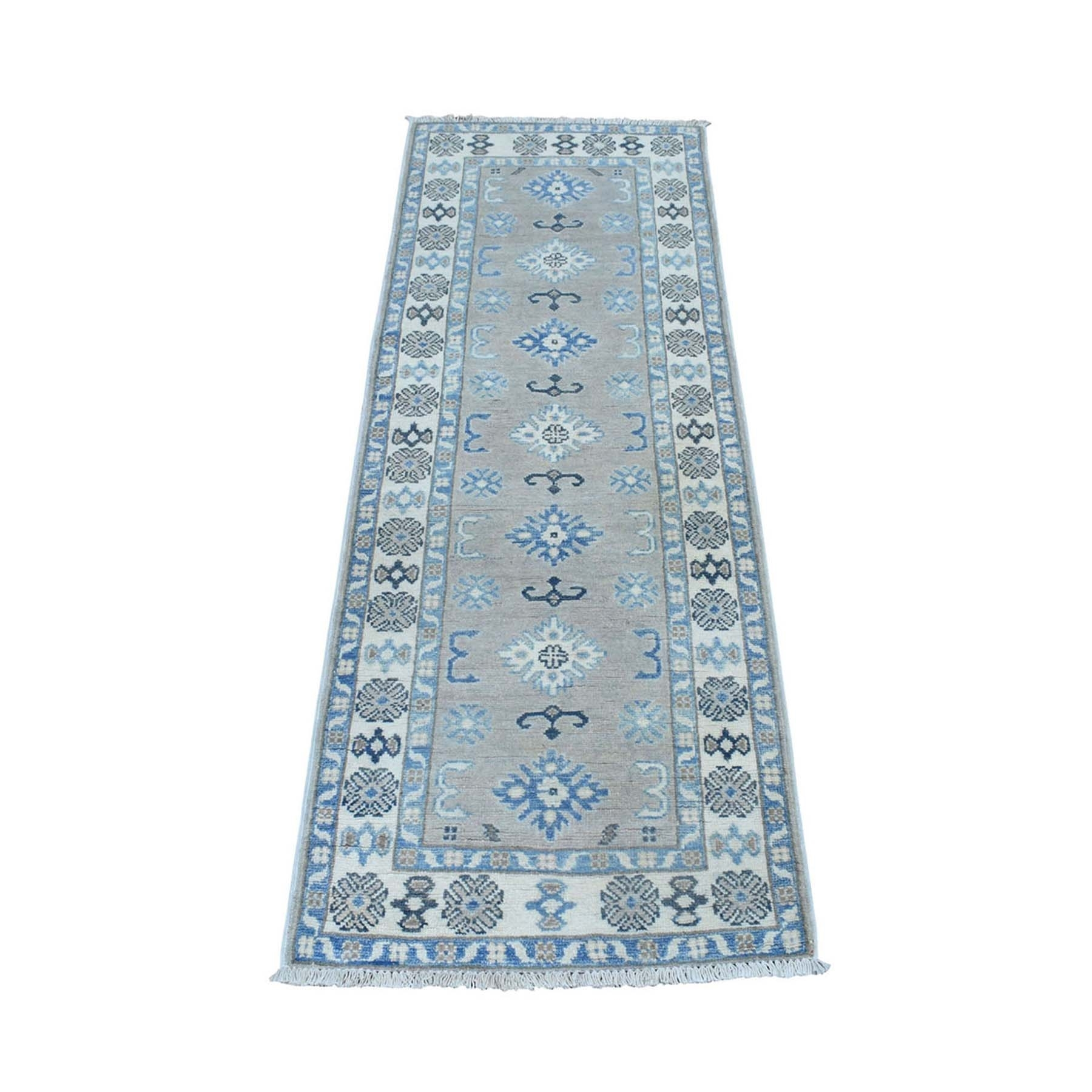 "2'x5'5"" Hand Knotted Gray Vintage Look Kazak Geometric Design Pure Wool Runner Oriental Rug"