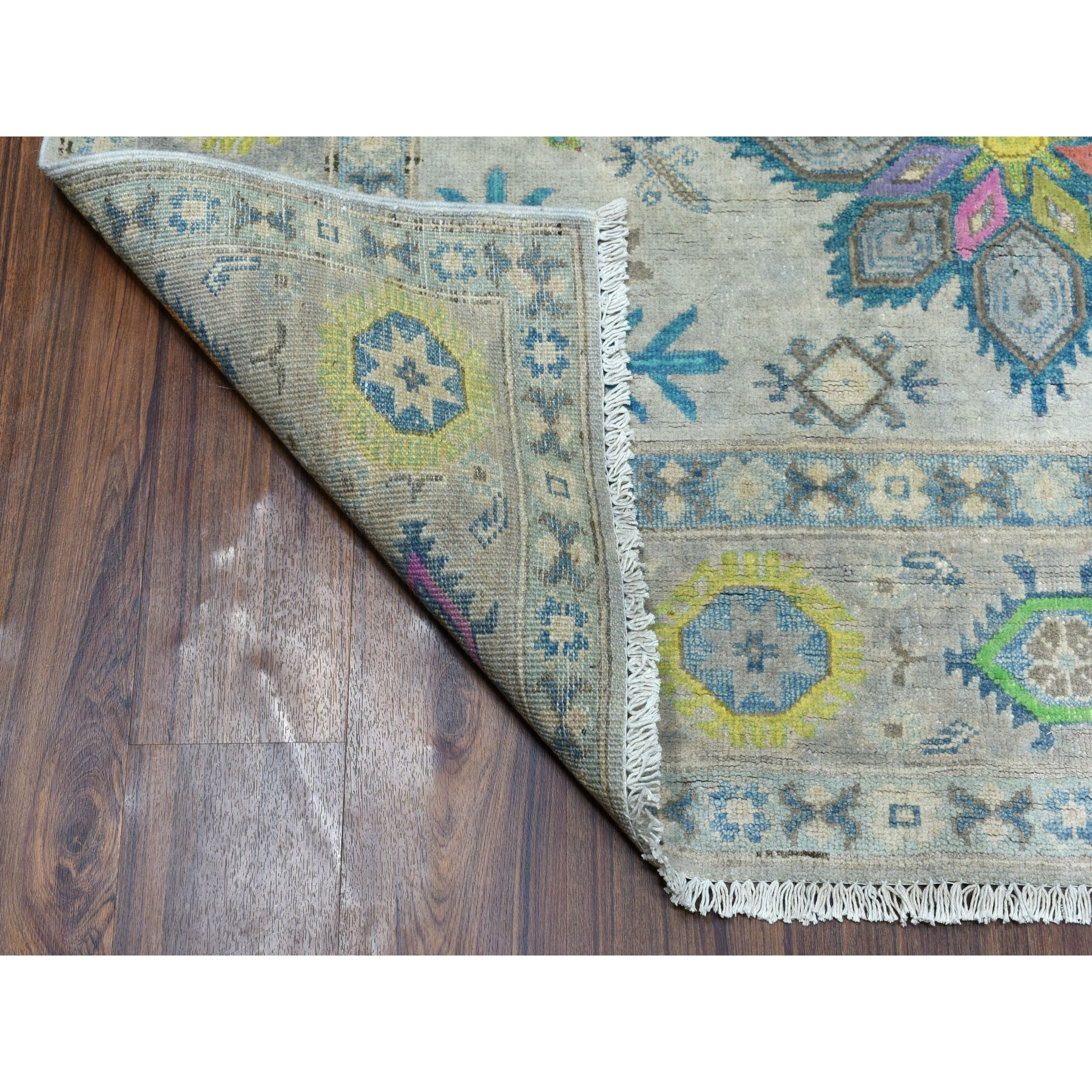 5-x6-5  Gray Colorful Fusion Kazak Pure Wool Geometric Design Hand Knotted Oriental Rug