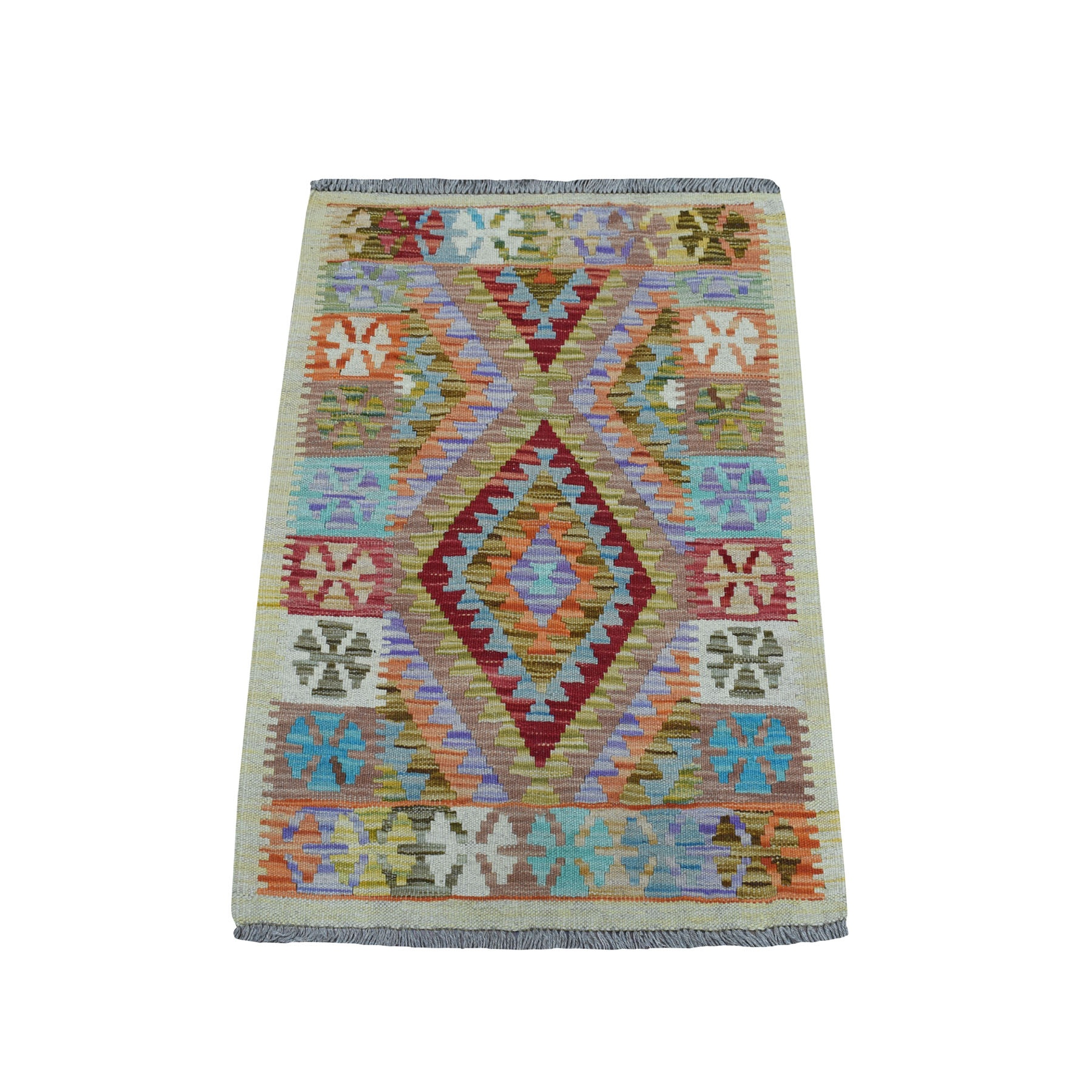 "2'1""X2'10"" Colorful Afghan Kilim Pure Wool Hand Woven Oriental Rug moaea9ee"