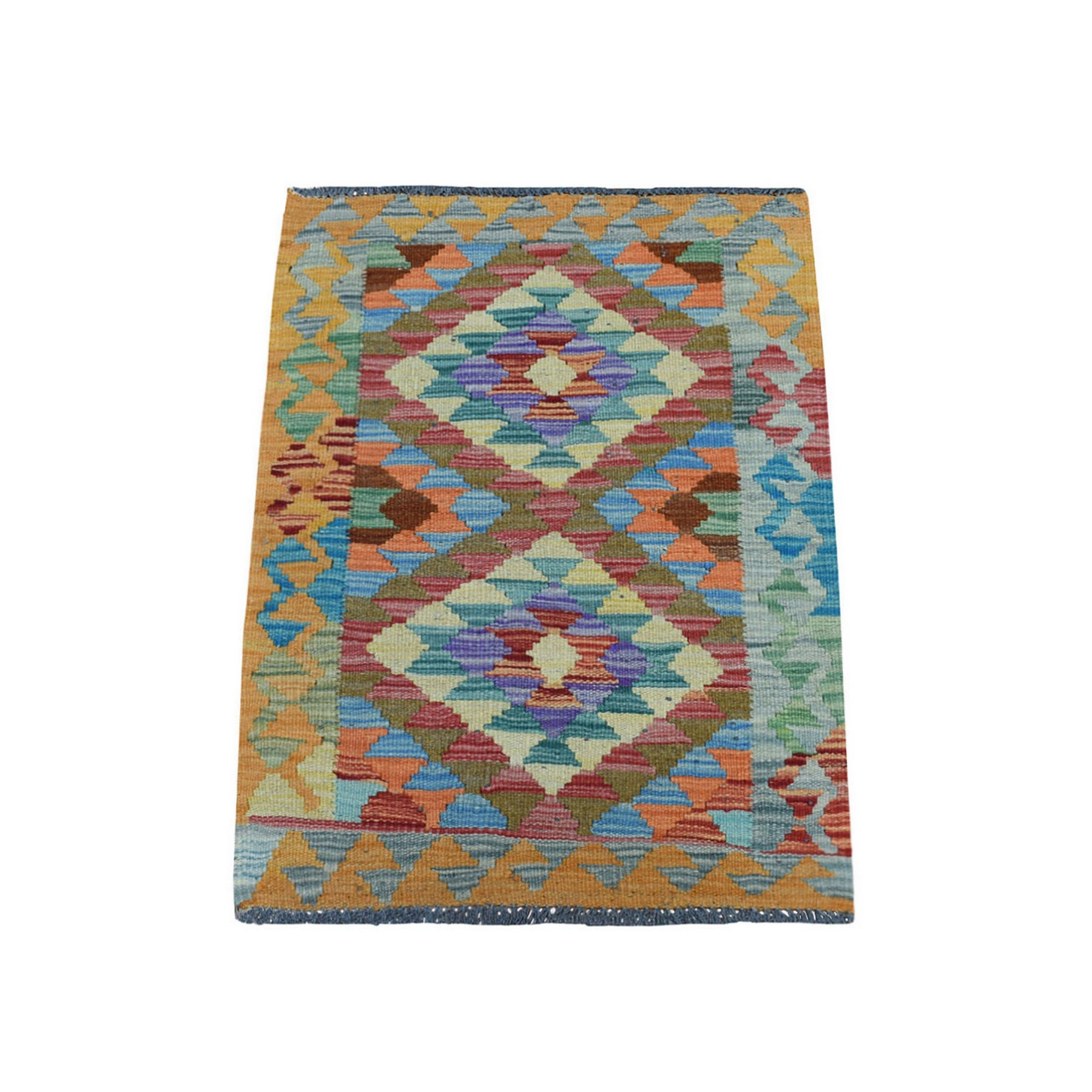 "1'10""x2'9"" Colorful Afghan Kilim Pure Wool Hand Woven Oriental Rug"