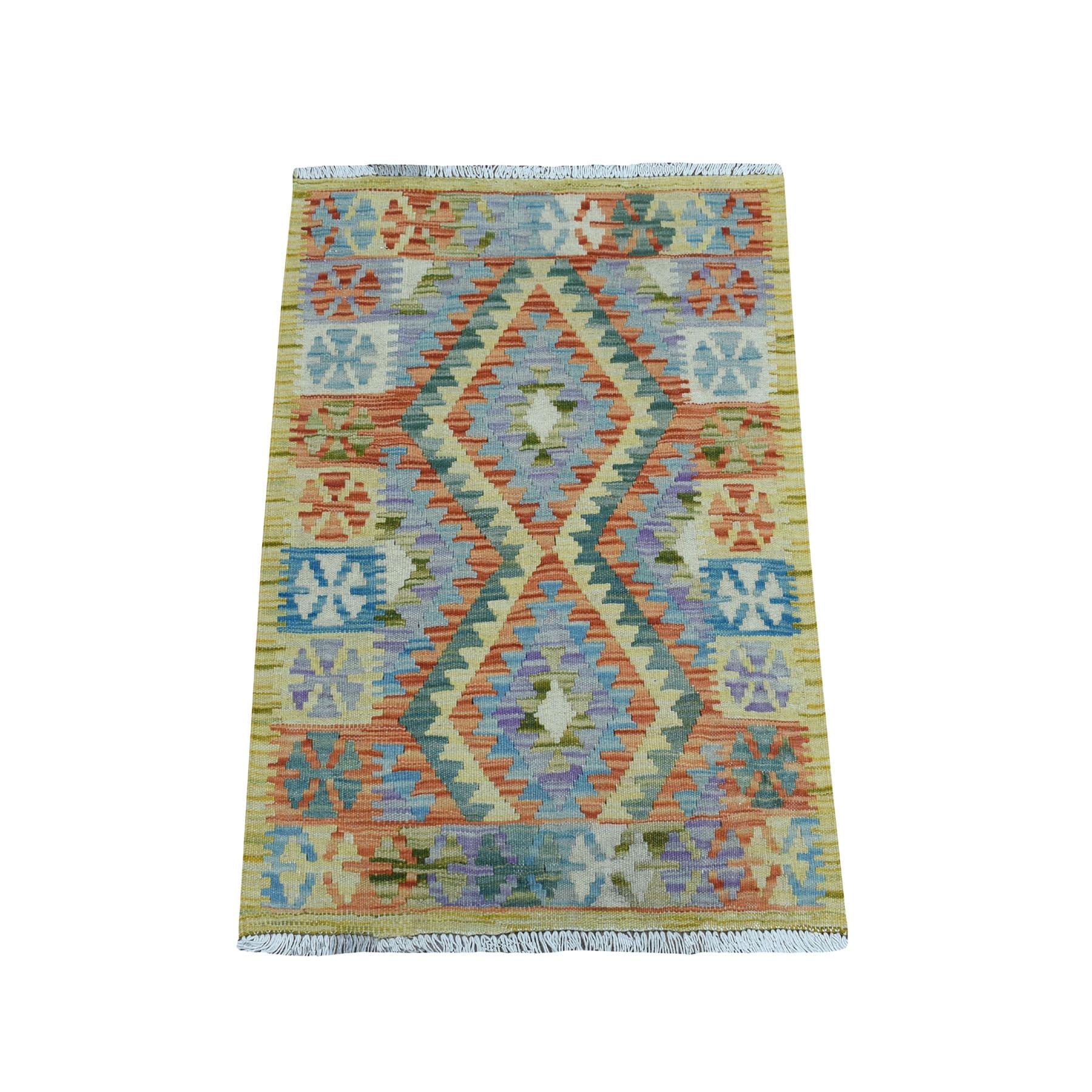 2-x3- Veggie Dyes Afghan Kilim Pure Wool Hand Woven Oriental Rug