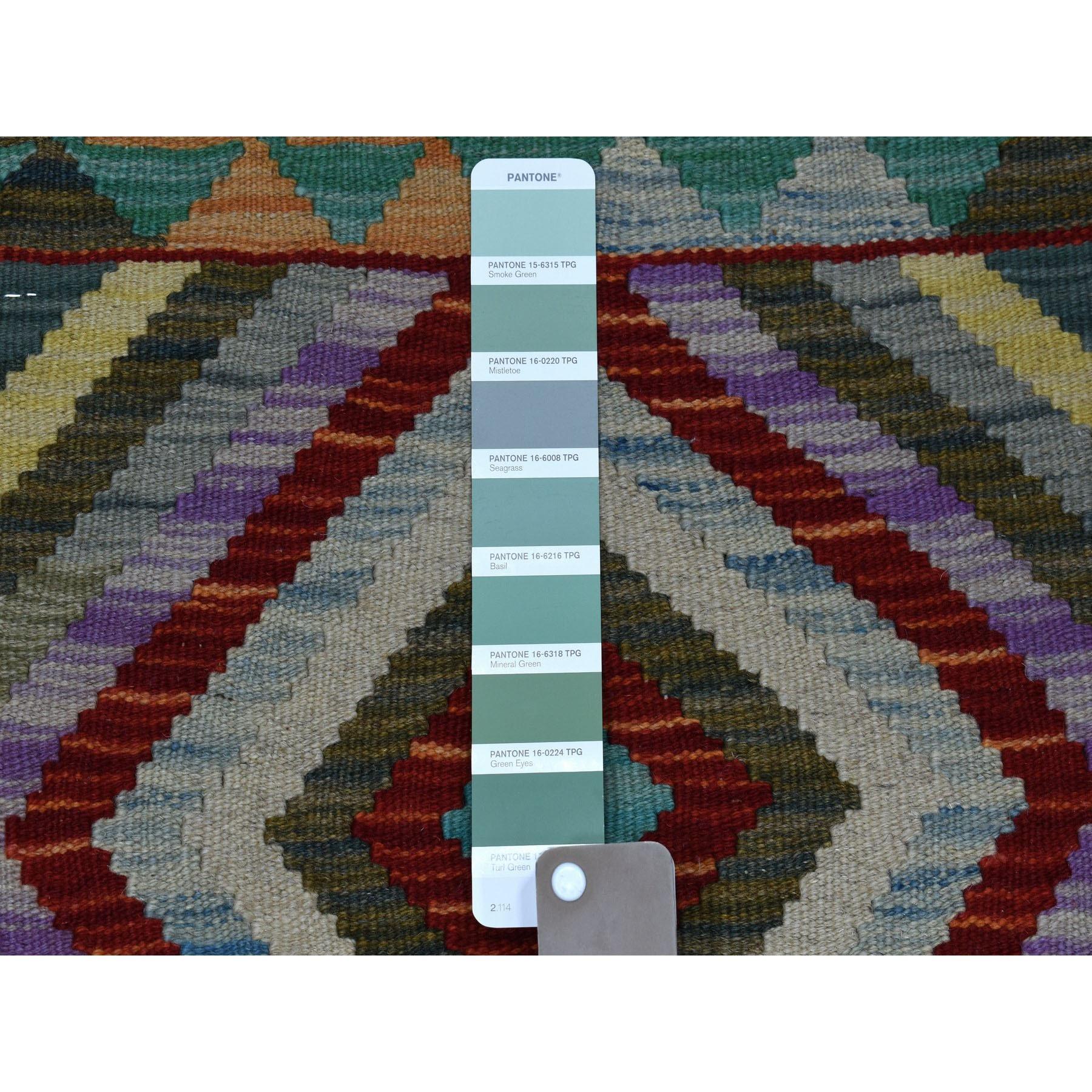 2-2 x3- Veggie Dyes Afghan Kilim Pure Wool Hand Woven Oriental Rug