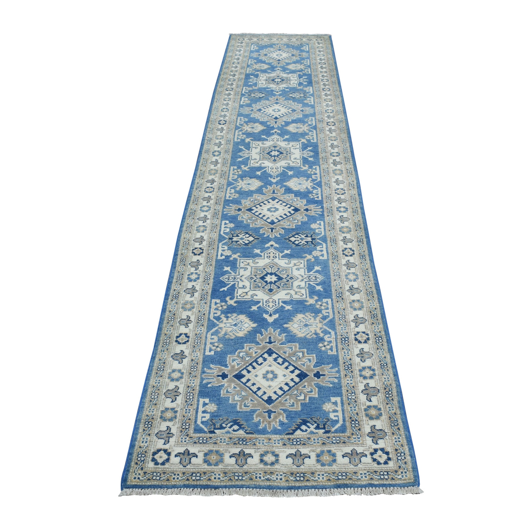 "2'5""X11'3""  Hand Knotted Blue Vintage Look Kazak Pure Wool Runner Oriental Rug moaeb00a"