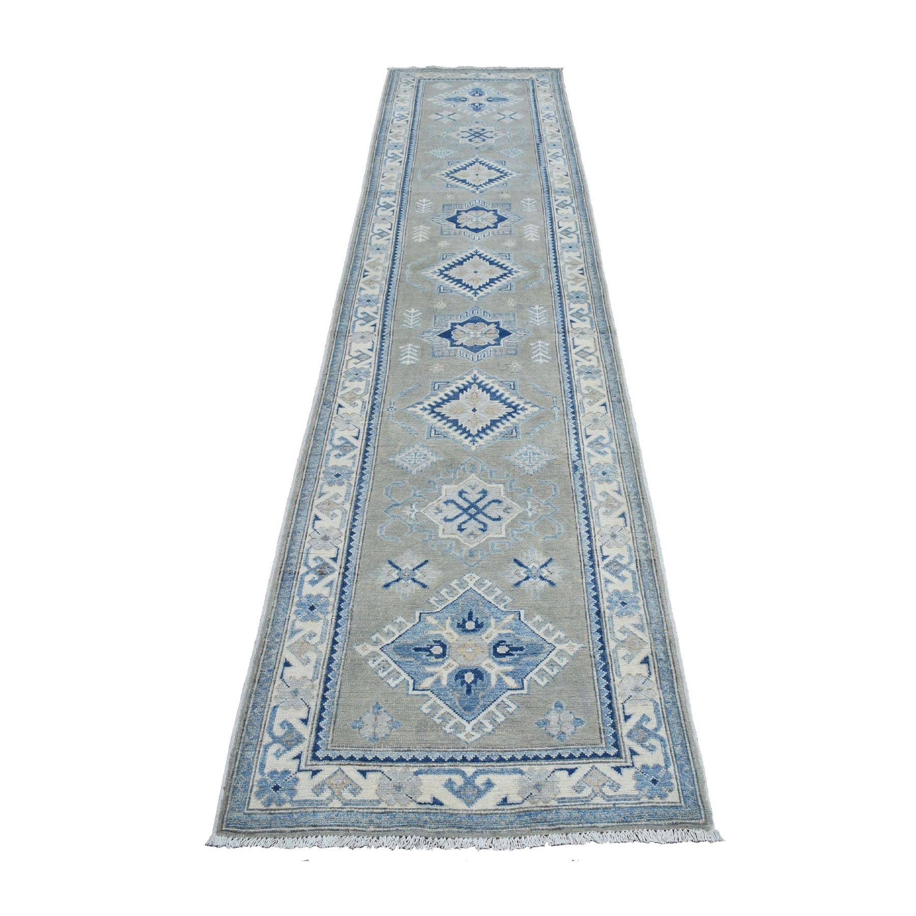 "2'7""X14'3"" Hand Knotted Gray Vintage Look Kazak Pure Wool Runner Oriental Rug moaeb00b"