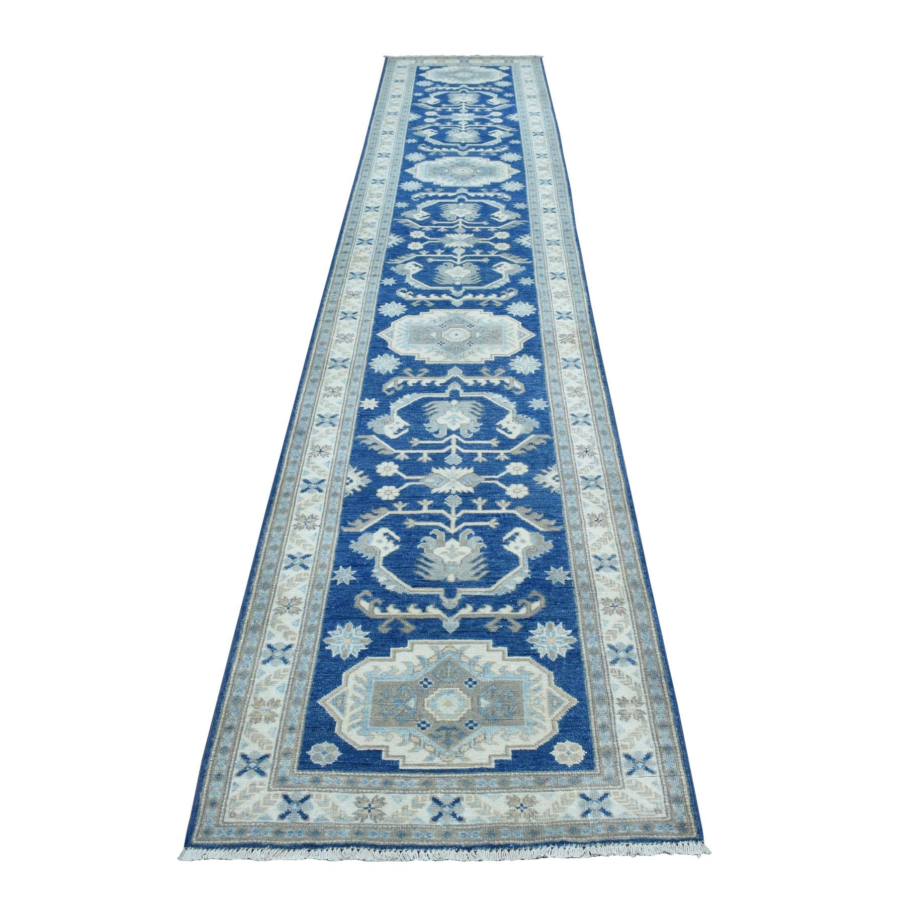 "2'7""X14'3"" Hand Knotted Blue Vintage Look Kazak Pure Wool Xl Runner Oriental Rug moaeb00c"