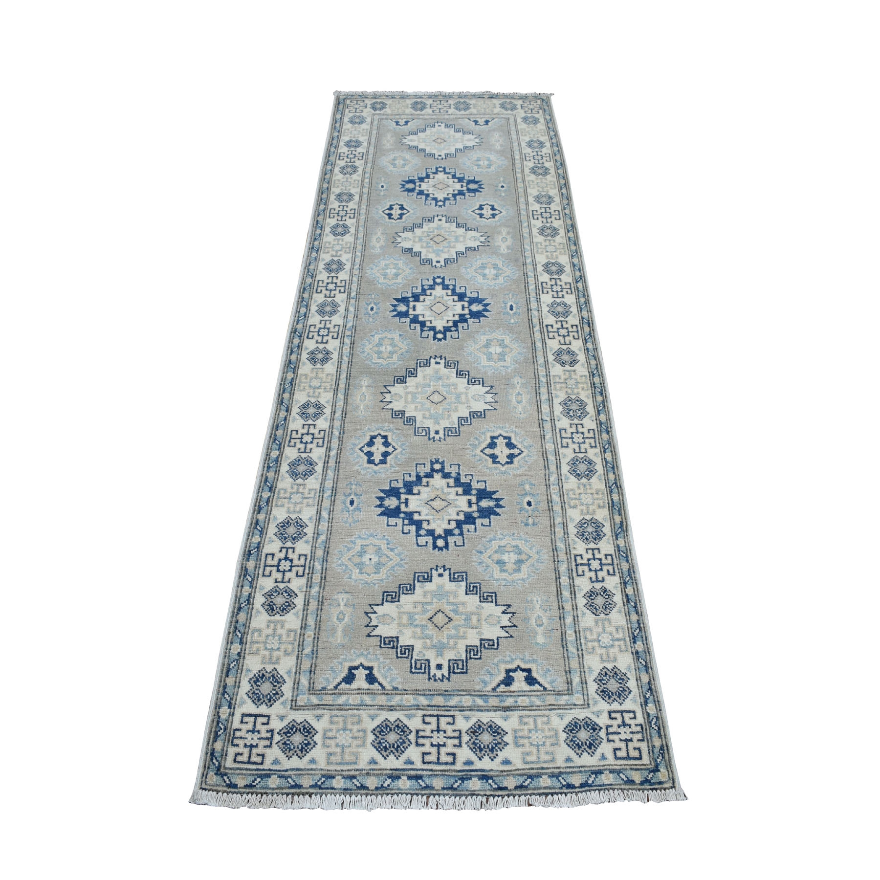 "2'8""X8' Gray Vintage Look Kazak Geometric Design Runner Pure Wool Hand Knotted Oriental Rug moaeb00d"