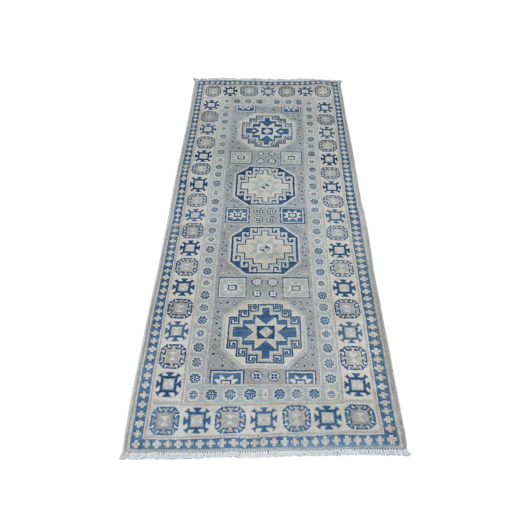 "2'6""x6'4"" Vintage Look Kazak Geometric Design Runner Pure Wool Hand Knotted Oriental Rug"