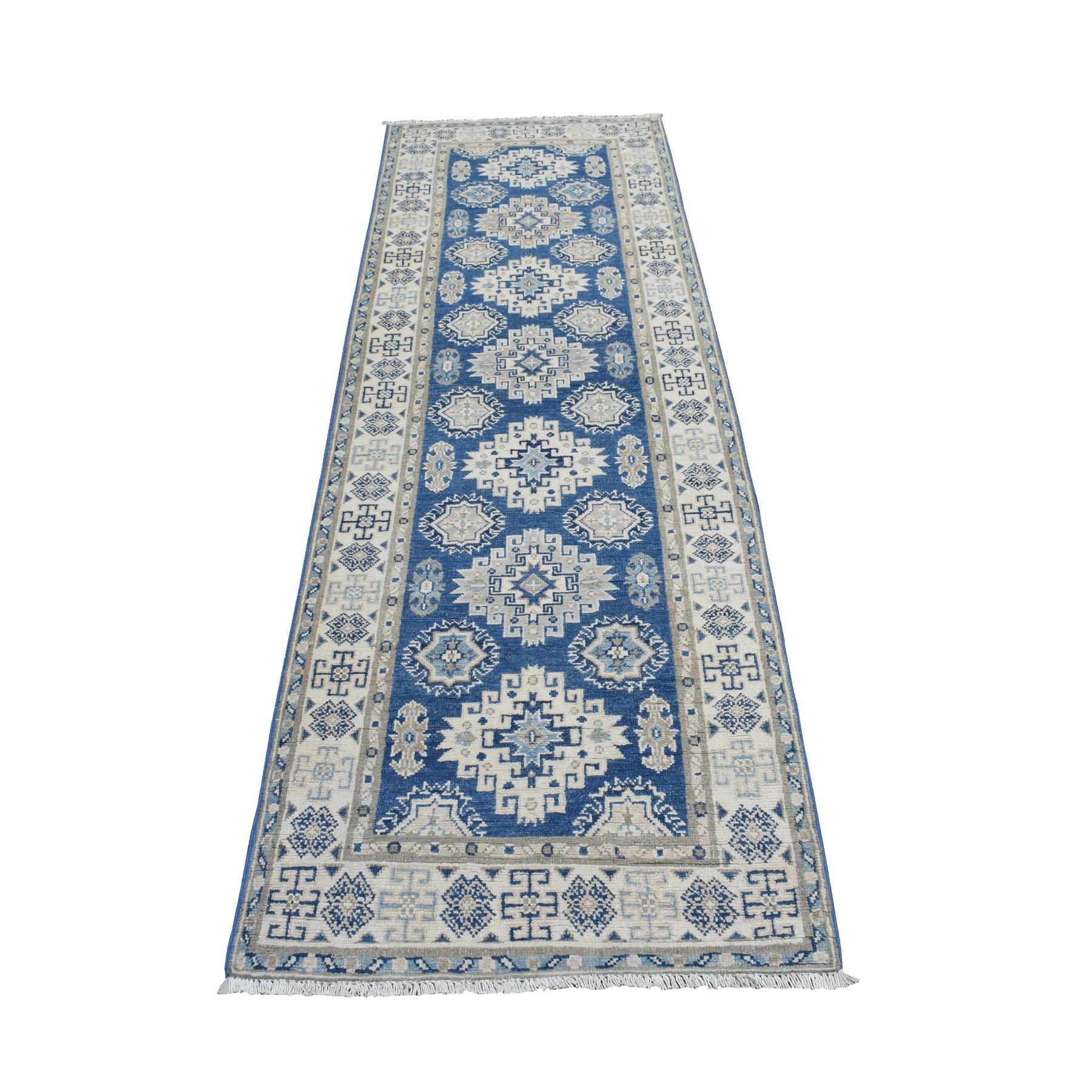 "2'7""x8'3"" Vintage Look Kazak Geometric Design Blue Runner Pure Wool Hand Knotted Oriental Rug 52006"