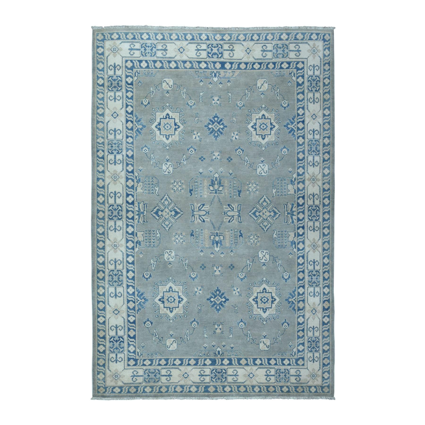 "5'9""x8'9"" Grey Vintage Look Kazak Geometric Design Pure Wool Hand Knotted Oriental Rug"