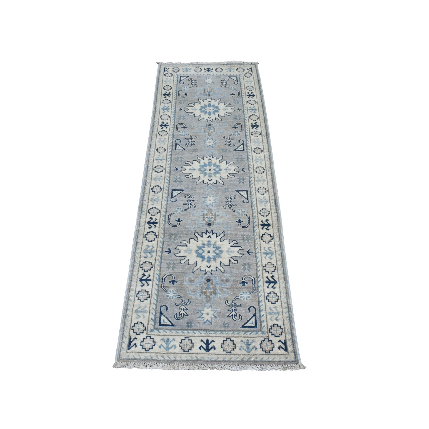 "2'x5'9"" Vintage Look Kazak Geometric Design Runner Pure Wool Hand Knotted Oriental Rug"
