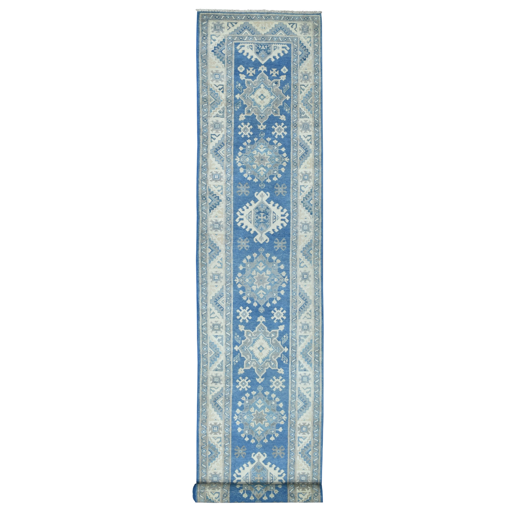 "2'8""X15'6"" Vintage Look Kazak Geometric Design Blue Xl Runner Pure Wool Hand Knotted Oriental Rug moaeb0ab"