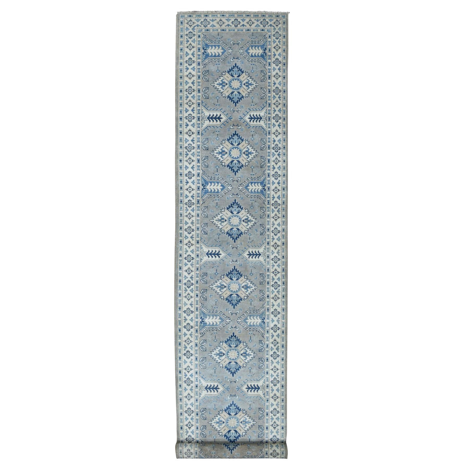 "2'8""x15'7"" Gray Vintage Look Kazak Geometric Design Runner Pure Wool Hand Knotted Oriental Rug 52013"