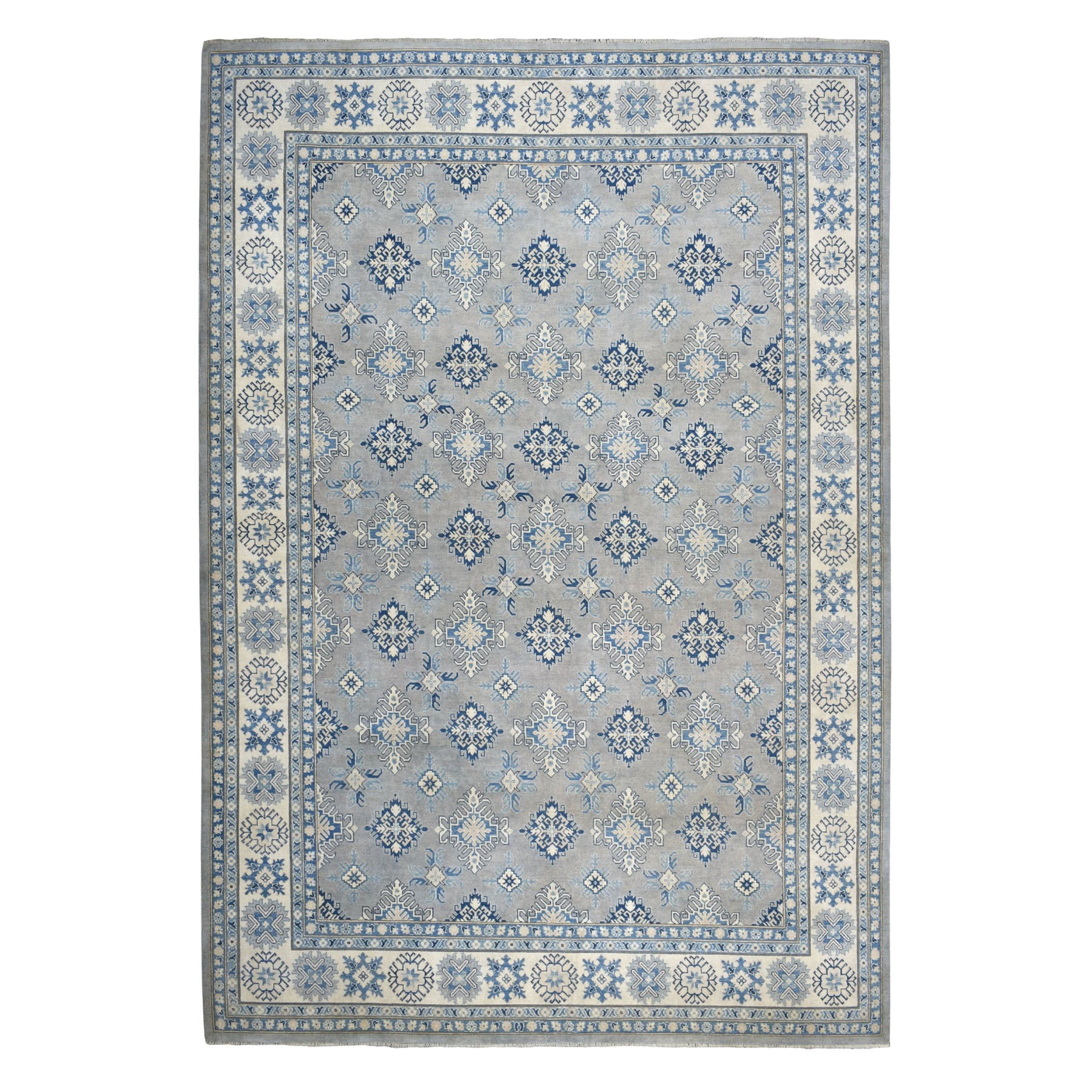 "9'8""X13'8"" Gray Vintage Look Kazak Geometric Design Pure Wool Hand Knotted Oriental Rug moaeb0ae"