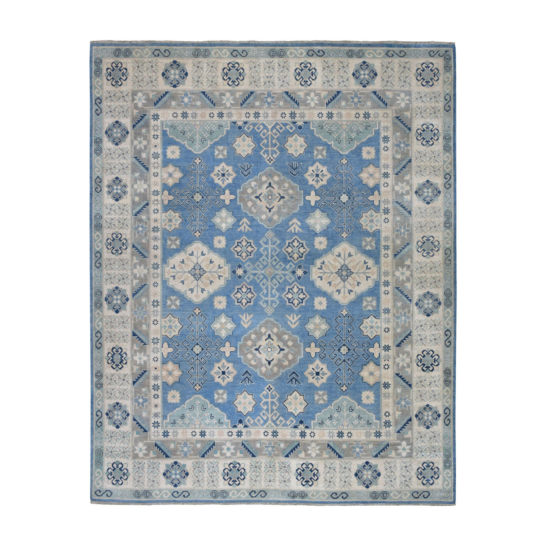 """8'X9'5"""" Blue Vintage Look Kazak Pure Wool Hand Knotted Oriental Rug moaeb0a7"""