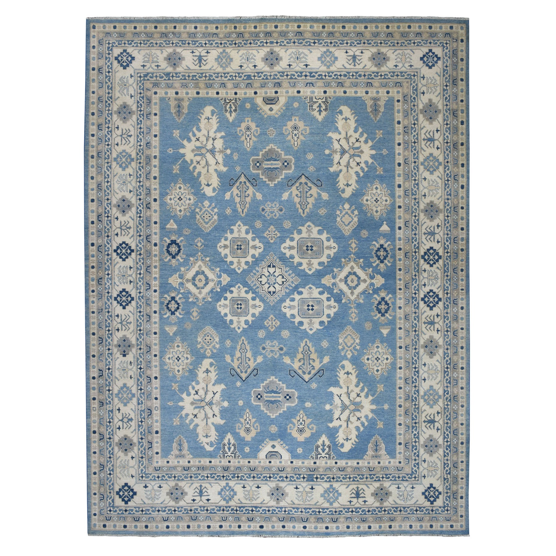 """9'1""""X11'6"""" Blue Vintage Look Kazak Pure Wool Hand Knotted Oriental Rug moaeb0a9"""