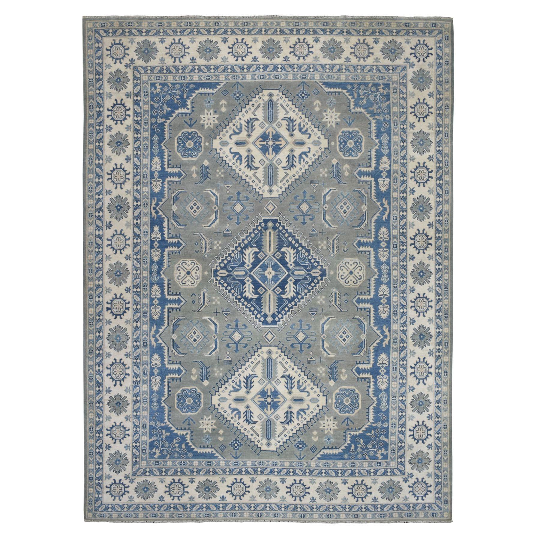 "8'6""X12'2"" Gray Vintage Look Kazak Geometric Design Pure Wool Hand Knotted Oriental Rug moaeb0b0"