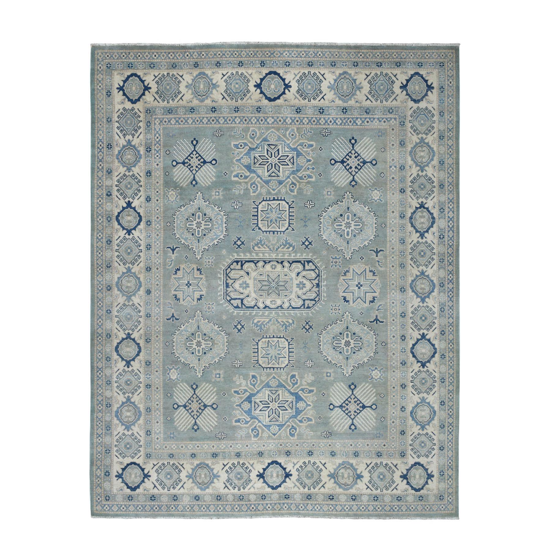 "8'X9'9"" Gray Vintage Look Kazak Geometric Design Pure Wool Hand Knotted Oriental Rug moaeb0ba"