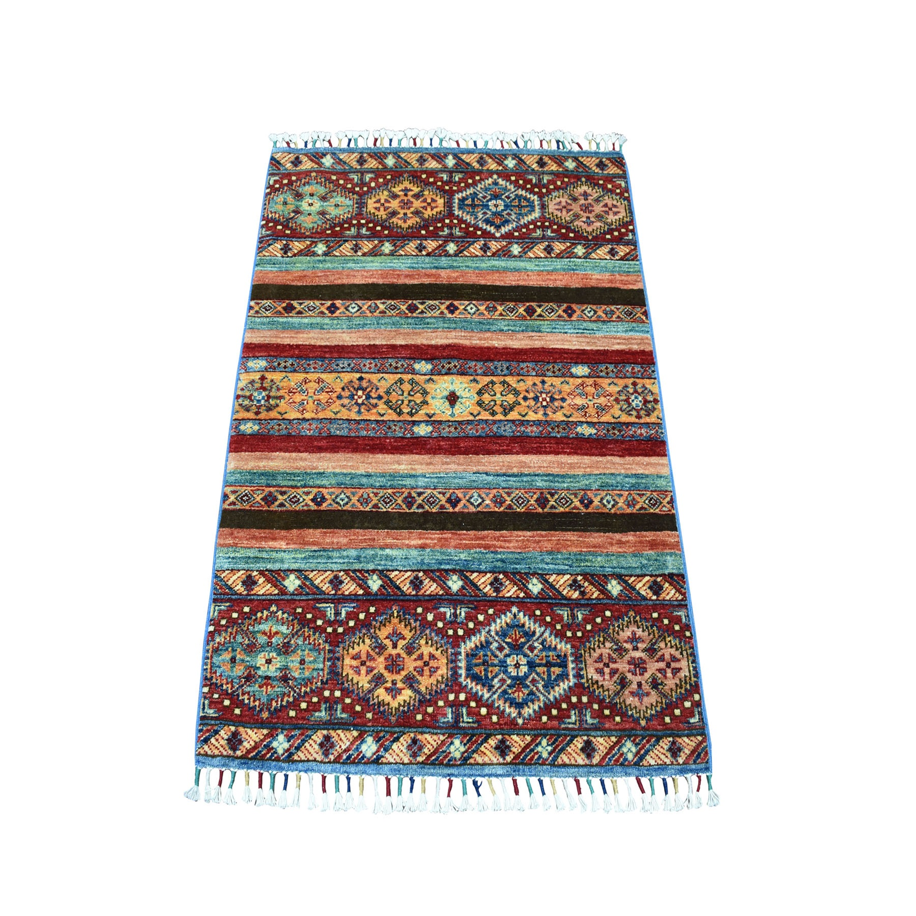 "2'9""x4' Hand Knotted Multicolor Khorjin Design Super Kazak Pure Wool Oriental Rug 52029"