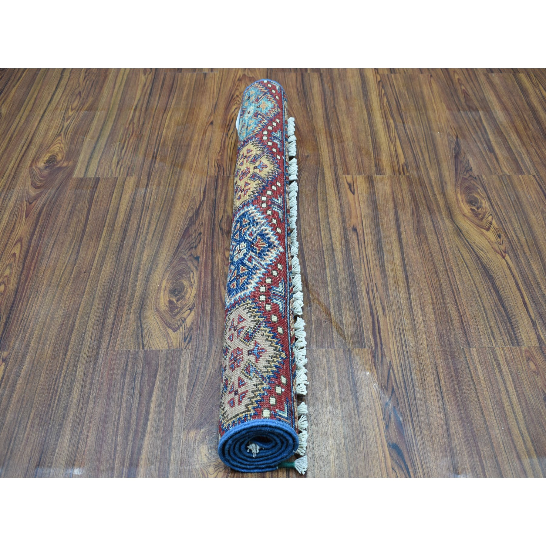 "2'9""x4' Hand Knotted Multicolor Khorjin Design Super Kazak Pure Wool Oriental Rug 52029"