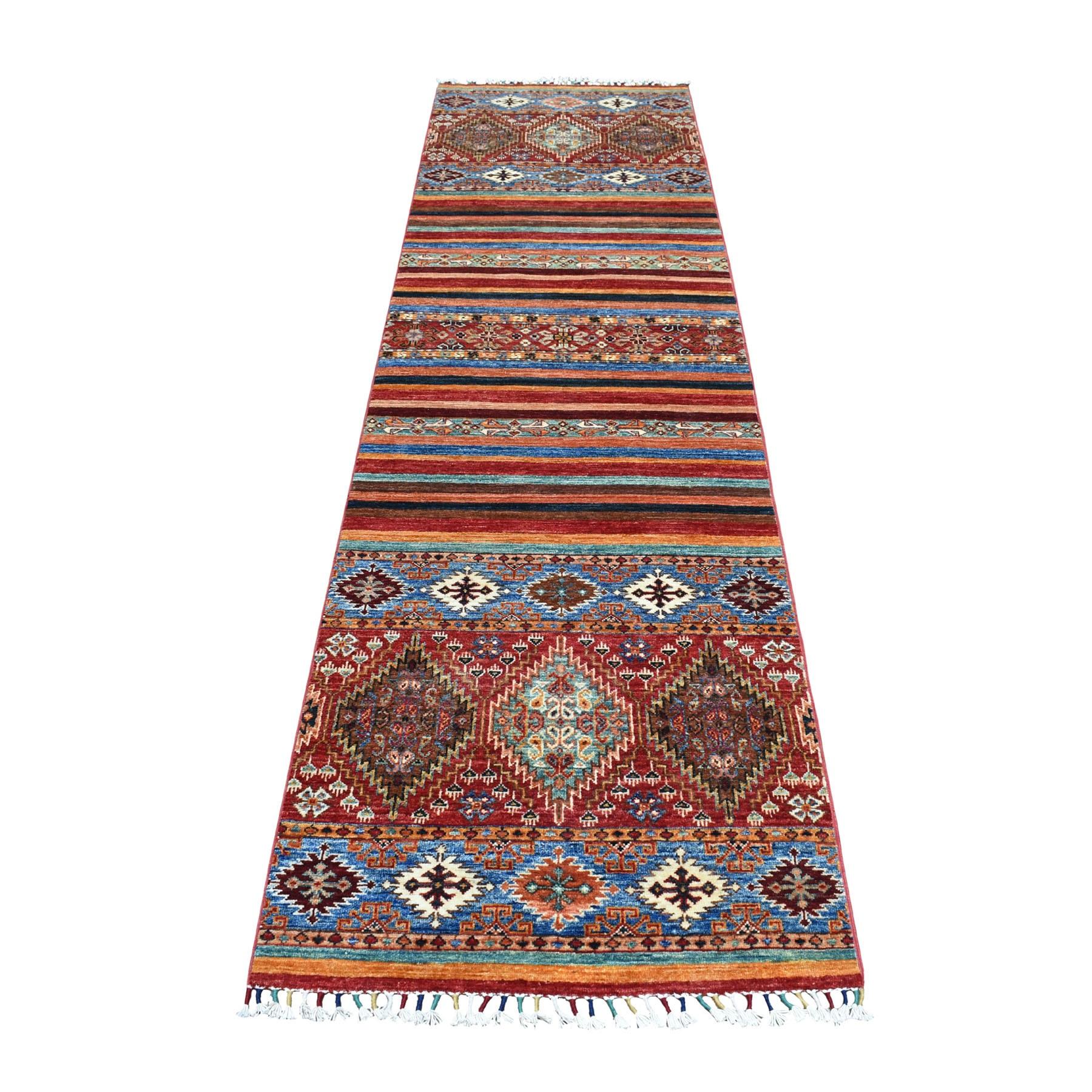 "2'8""X9'8"" Khorjin Design Colorful Super Kazak Pure Wool Hand Knotted Oriental Rug moaeb0cc"