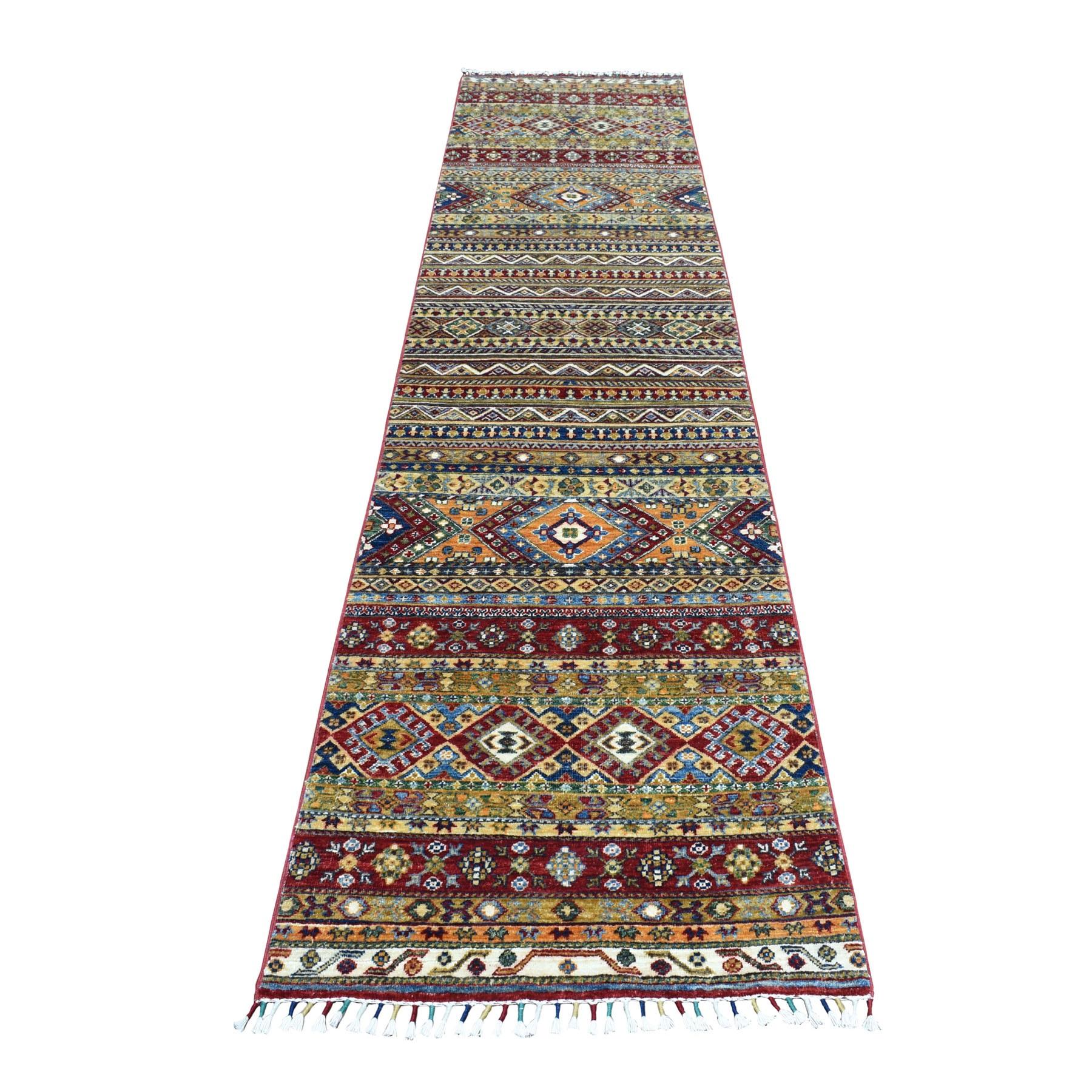 "2'8""X11'3"" Khorjin Design Colorful Super Kazak Pure Wool Runner Hand Knotted Oriental Rug moaeb0cd"