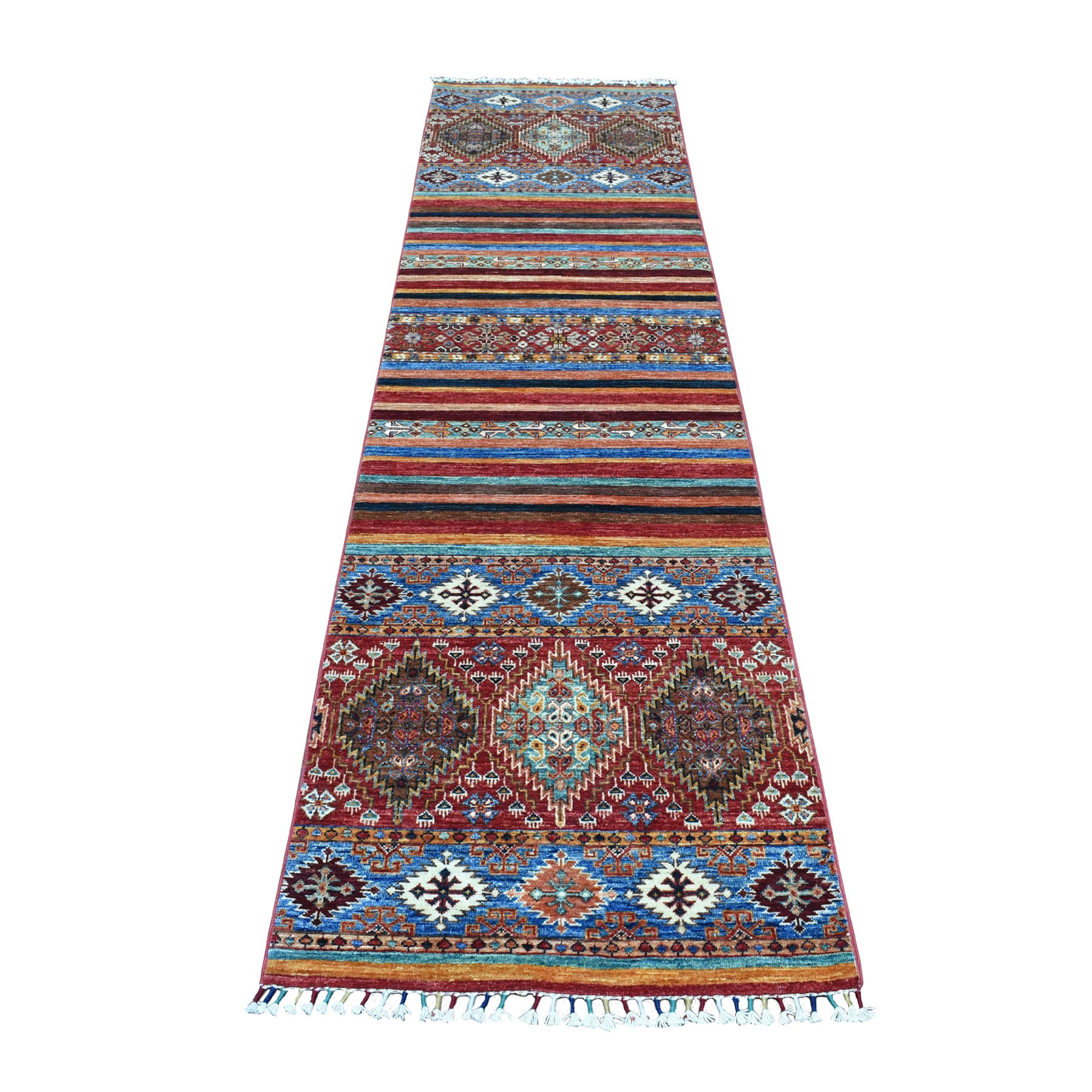 "2'6""x9'8"" Super Kazak Colorful Khorjin Design Pure Wool Hand Knotted Runner Oriental Rug 52035"