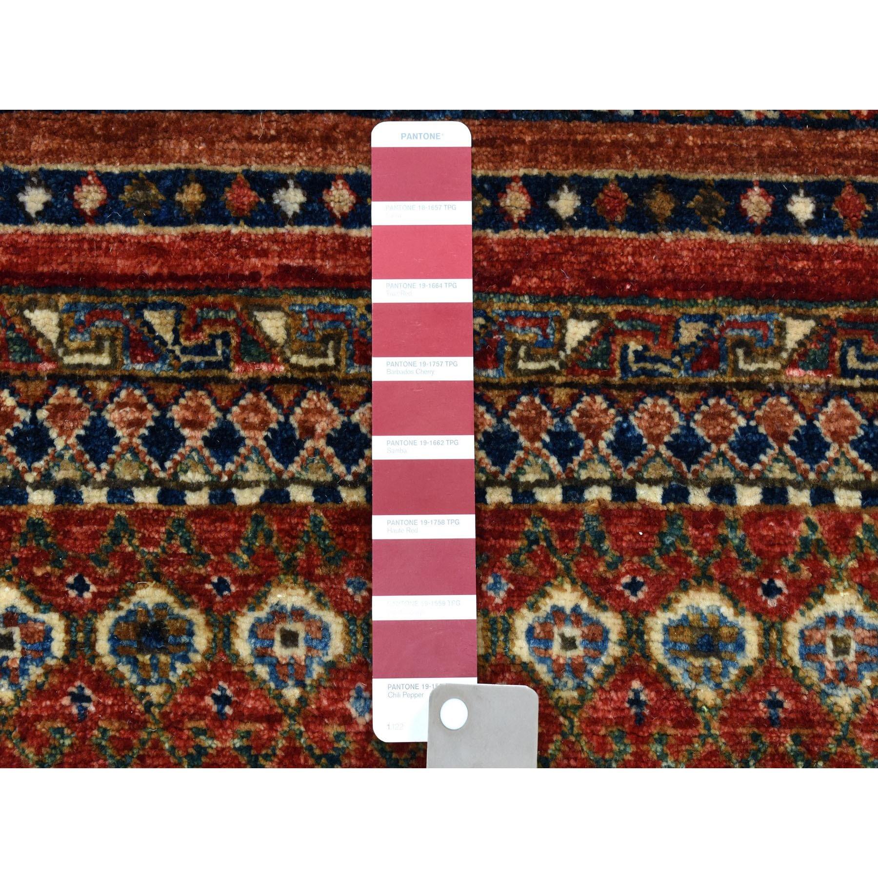 "4'9""x6'9"" Super Kazak Khorjin Design Hand-Knotted Pure Wool Oriental Rug"