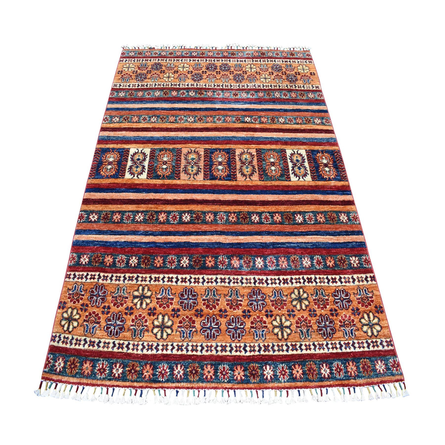 "4'9""X6'3"" Khorjin Design Colorful Super Kazak Pure Wool Hand Knotted Oriental Rug moaeb0c9"