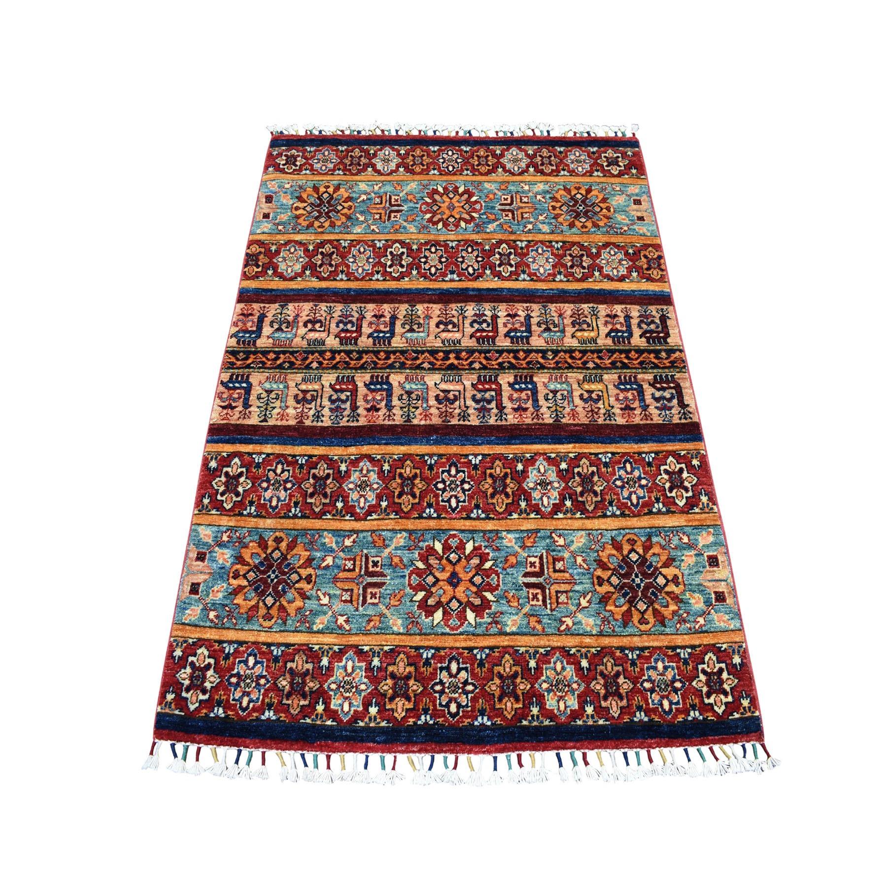 "3'5""X4'10"" Khorjin Design Colorful Super Kazak Pure Wool Hand Knotted Oriental Rug moaeb0d0"