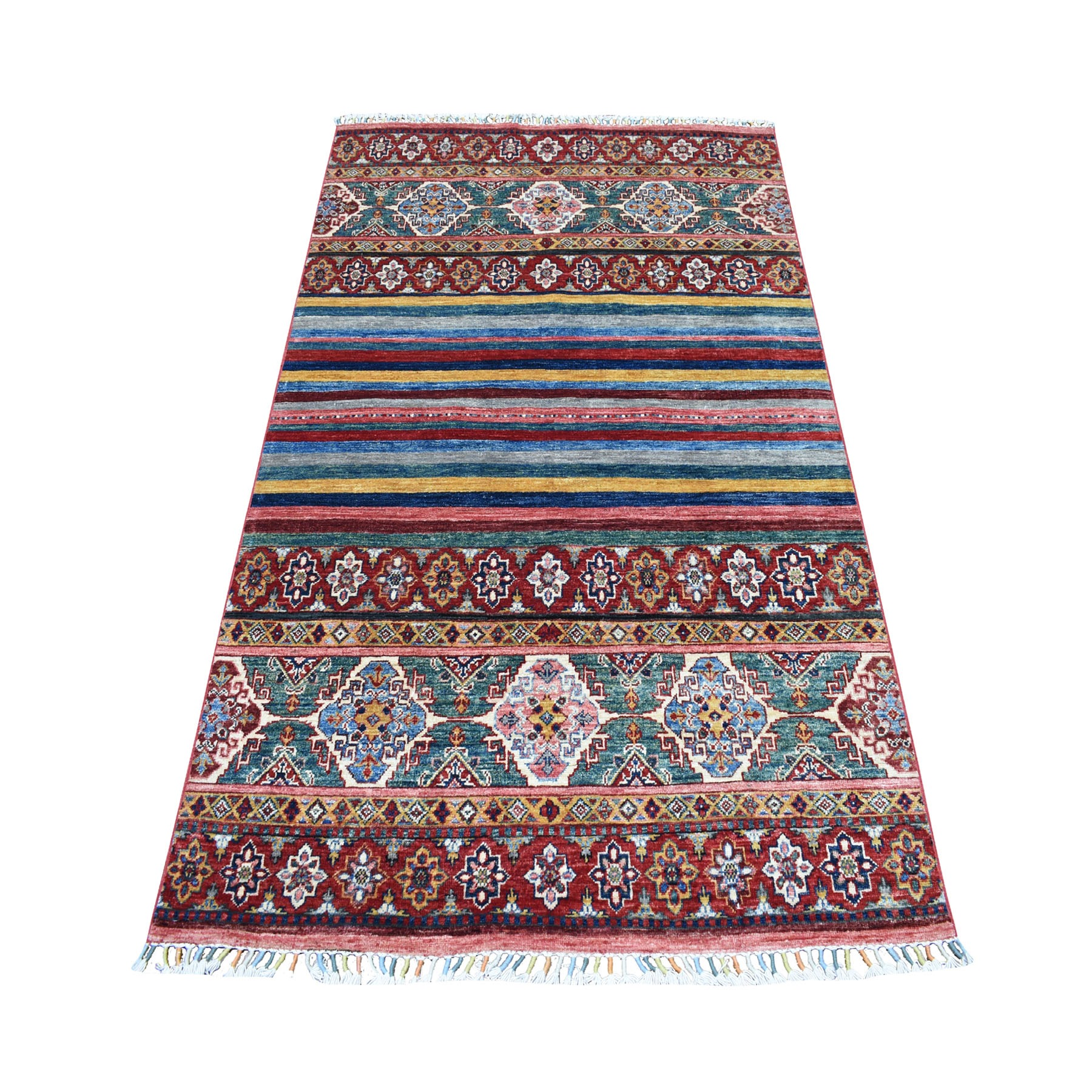 "3'10""X6' Khorjin Design Colorful Super Kazak Pure Wool Hand Knotted Oriental Rug moaeb0dc"