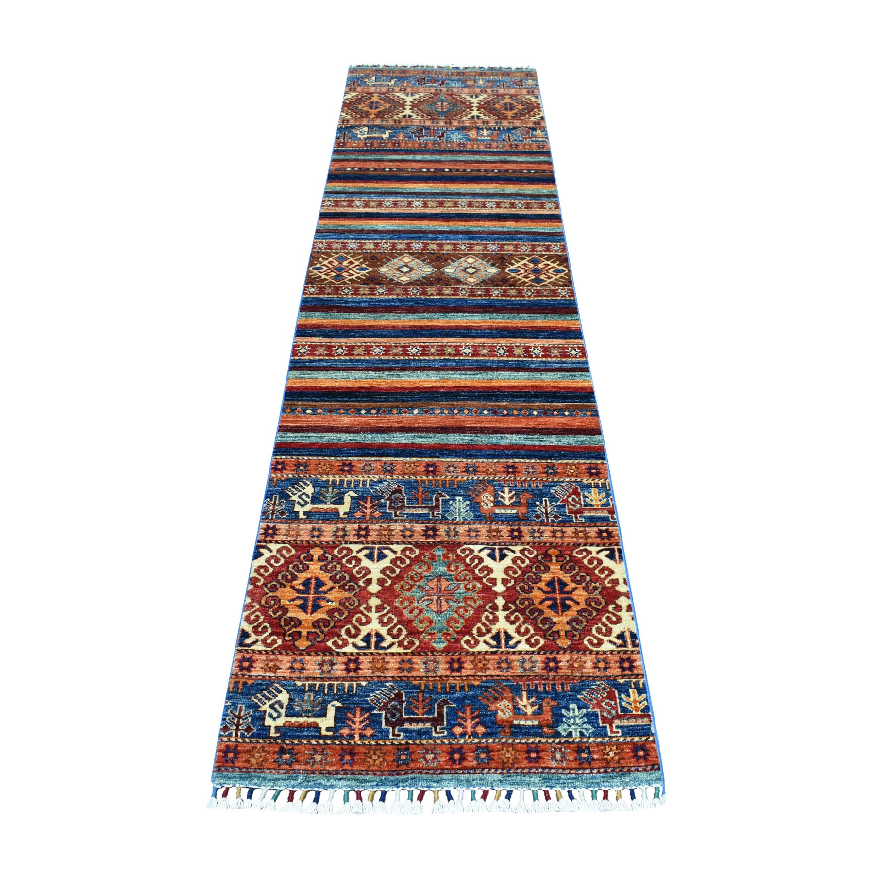 "2'4""X9'7"" Khorjin Design Colorful Runner Super Kazak Pure Wool Hand Knotted Oriental Rug moaeb0d7"