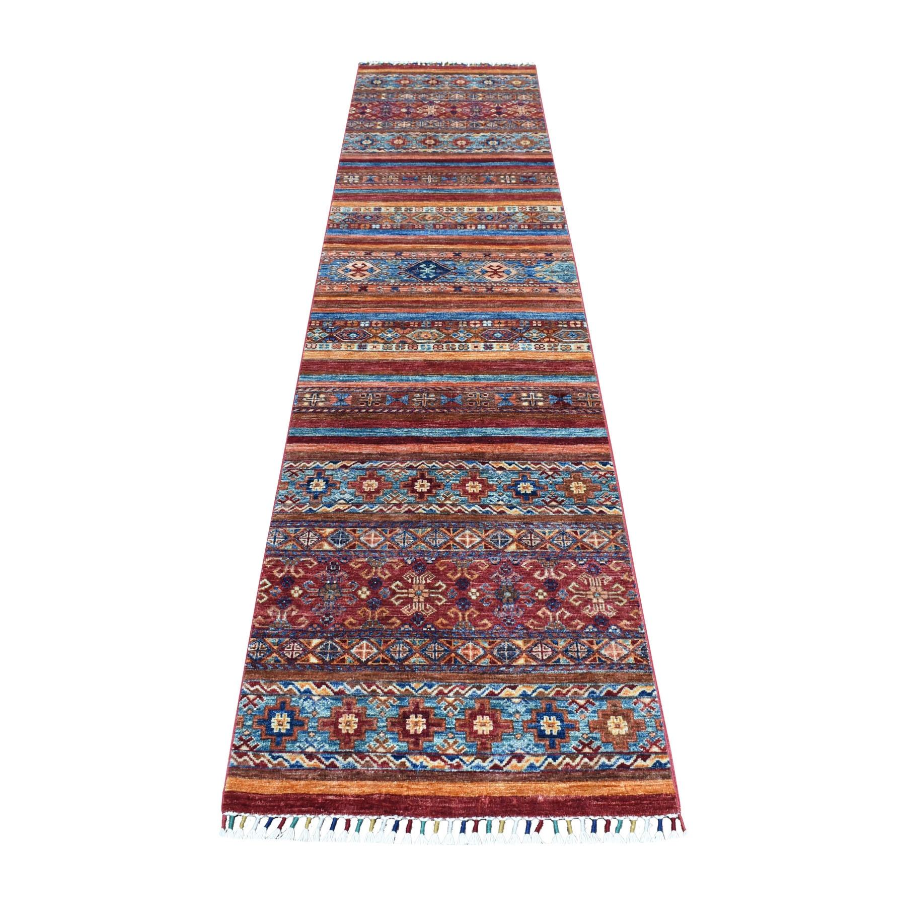 "2'4""x10'3"" Khorjin Design Colorful Runner Super Kazak Pure Wool Hand Knotted Oriental Rug"