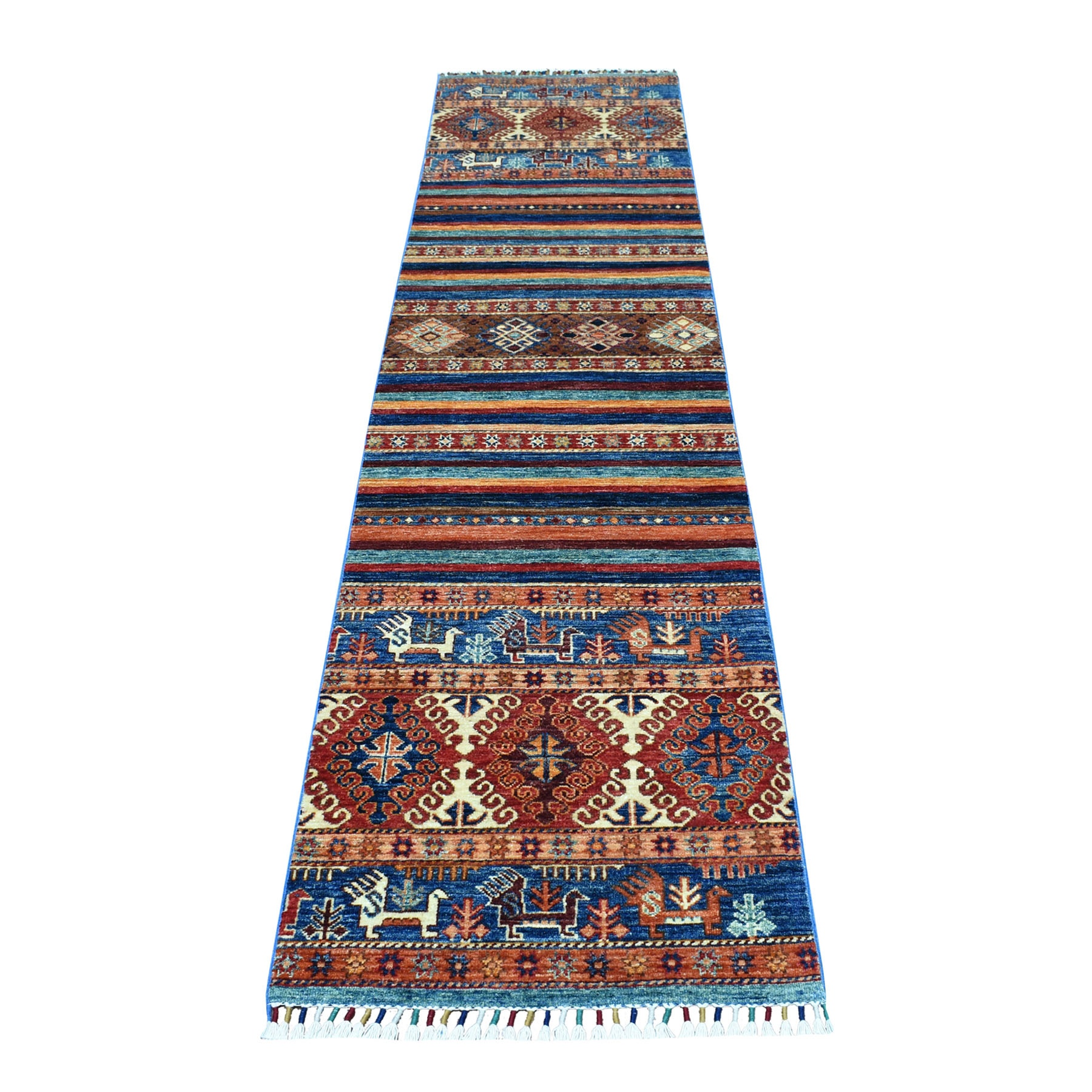 "2'3""X9'7""  Khorjin Design Colorful Super Kazak Pure Wool Hand Knotted Oriental Rug moaeb0d9"