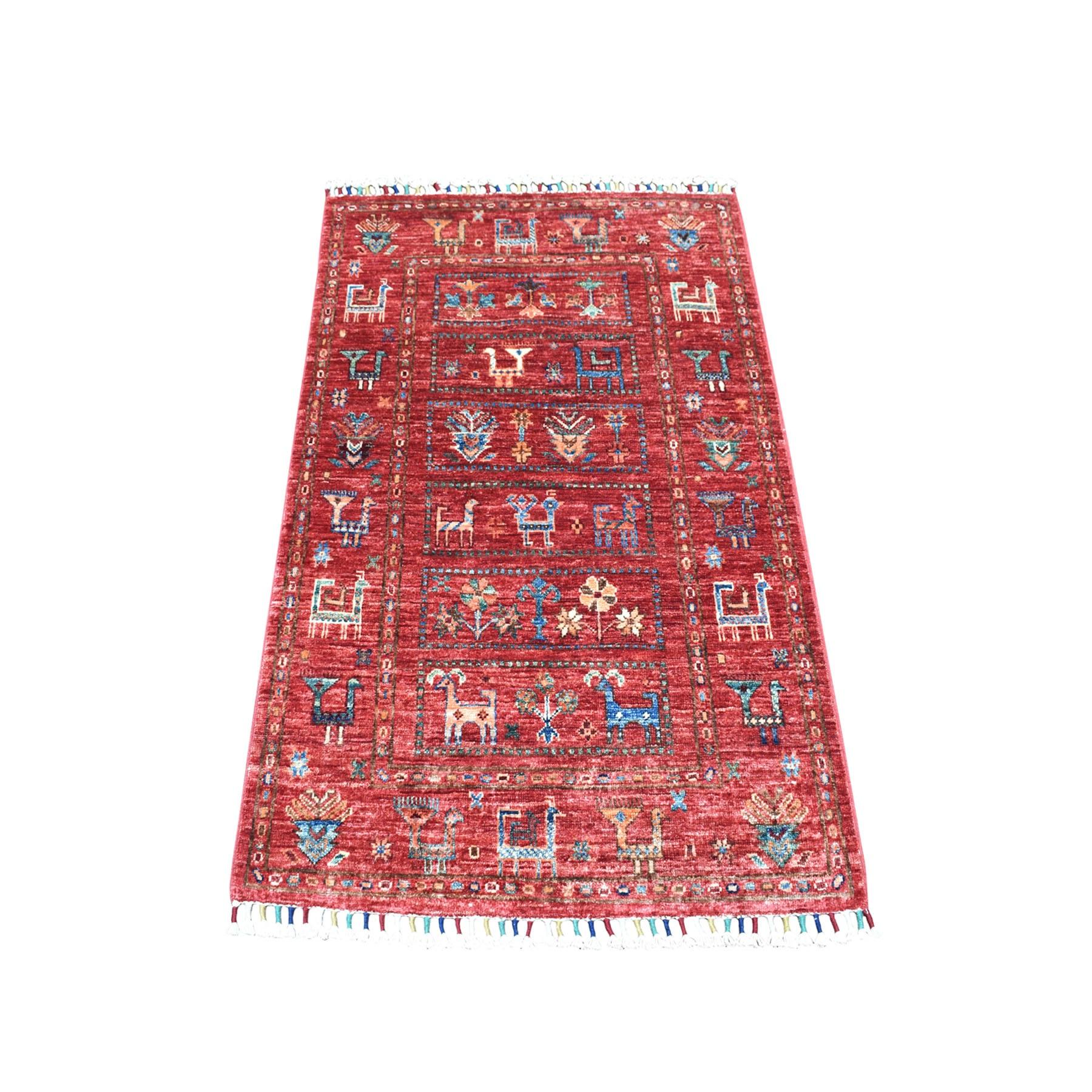 "2'8""x4'1"" Khorjin Design Red Super Kazak Pure Wool Hand Knotted Oriental Rug"