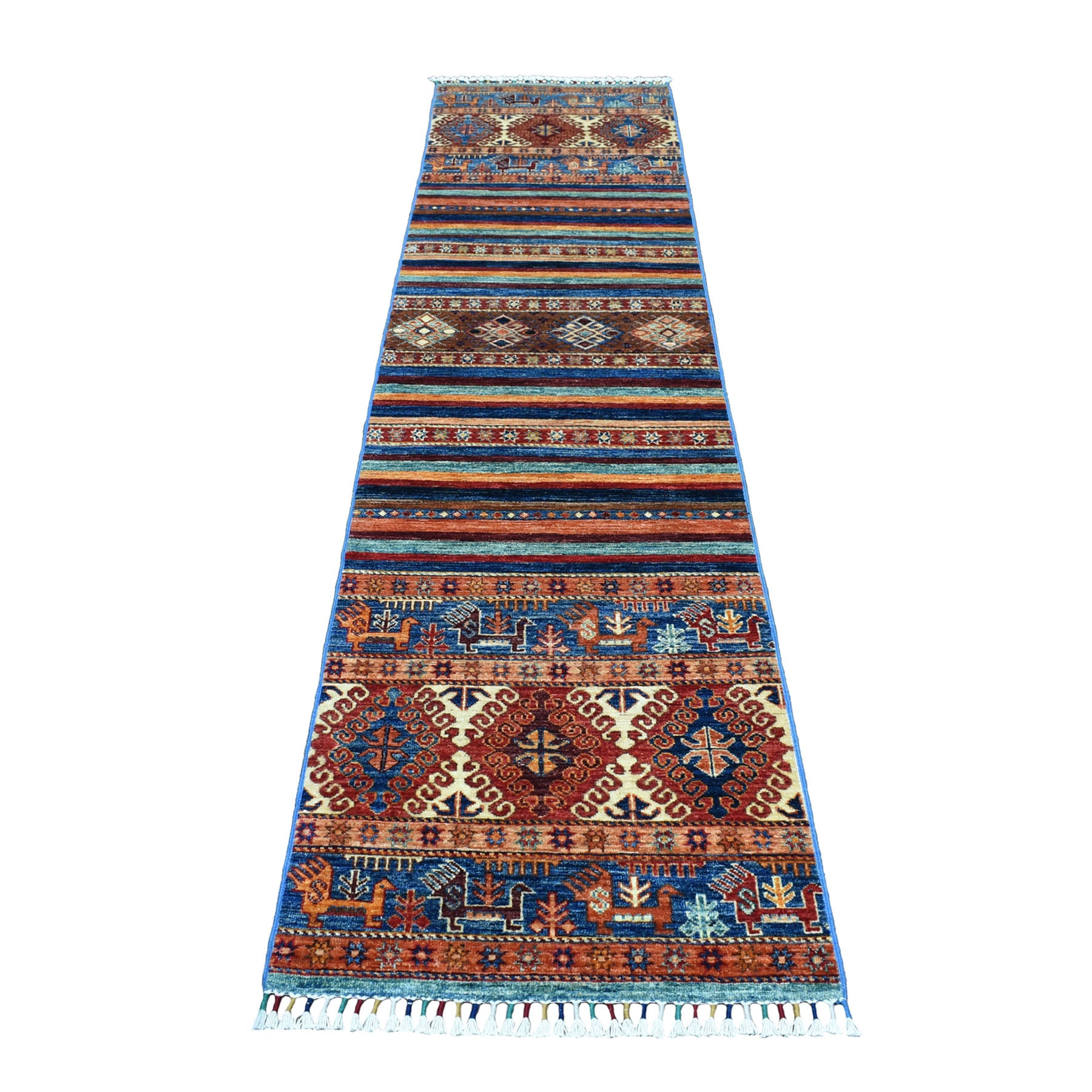 "2'3""X9'7"" Khorjin Design Colorful Super Kazak Pure Wool Hand Knotted Oriental Rug moaeb0ea"