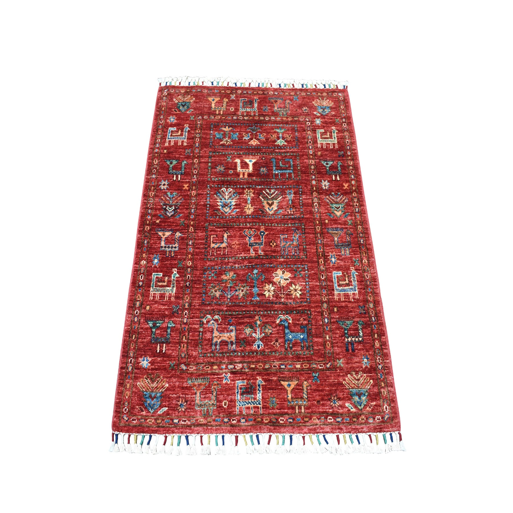 "2'7""x4'0"" Khorjin Design Red Super Kazak Pure Wool Hand Knotted Oriental Rug"