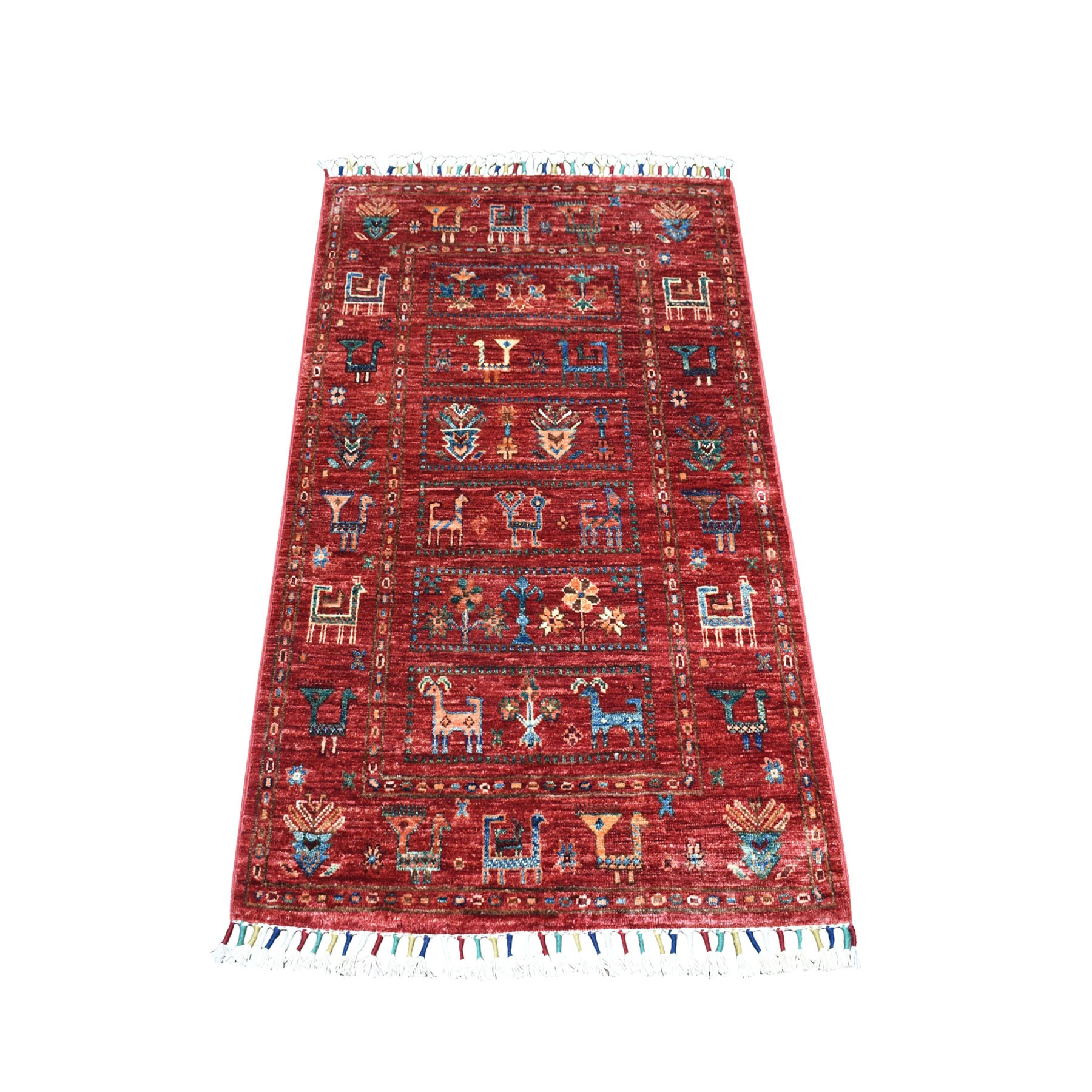 "2'6""x4'0"" Khorjin Design Red Super Kazak Pure Wool Hand Knotted Oriental Rug moa260260"