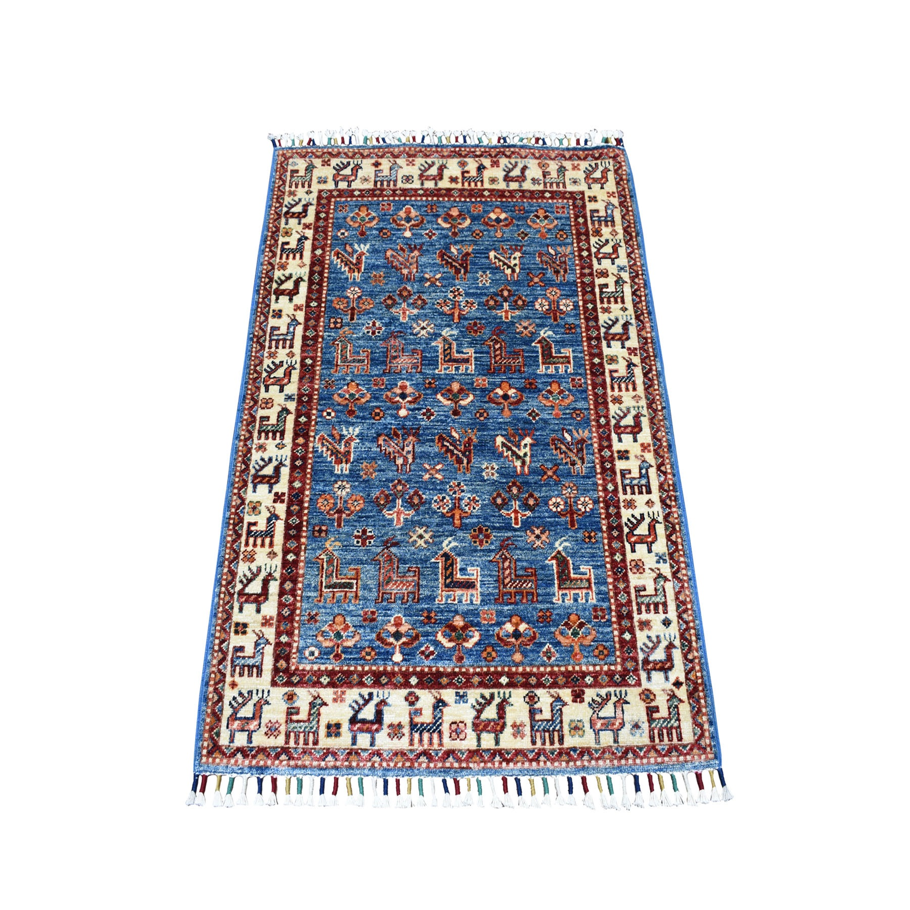 "2'9""X3'10"" Khorjin Design Blue Super Kazak Pure Wool Hand Knotted Oriental Rug moaeb0ee"