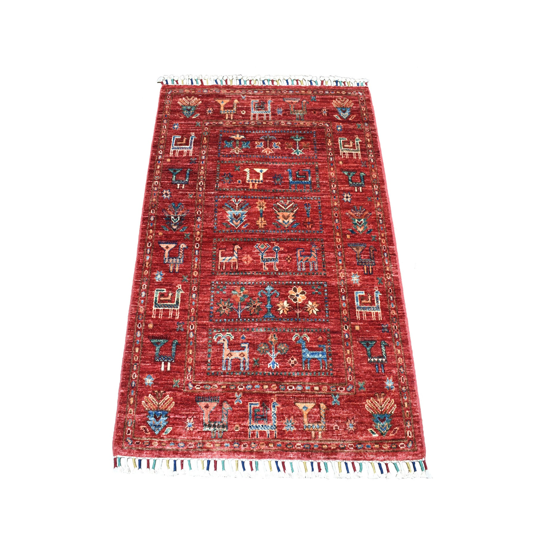 """2'8""""x4' Khorjin Design Colorful Super Kazak With Animals Pure Wool Hand Knotted Oriental Rug"""