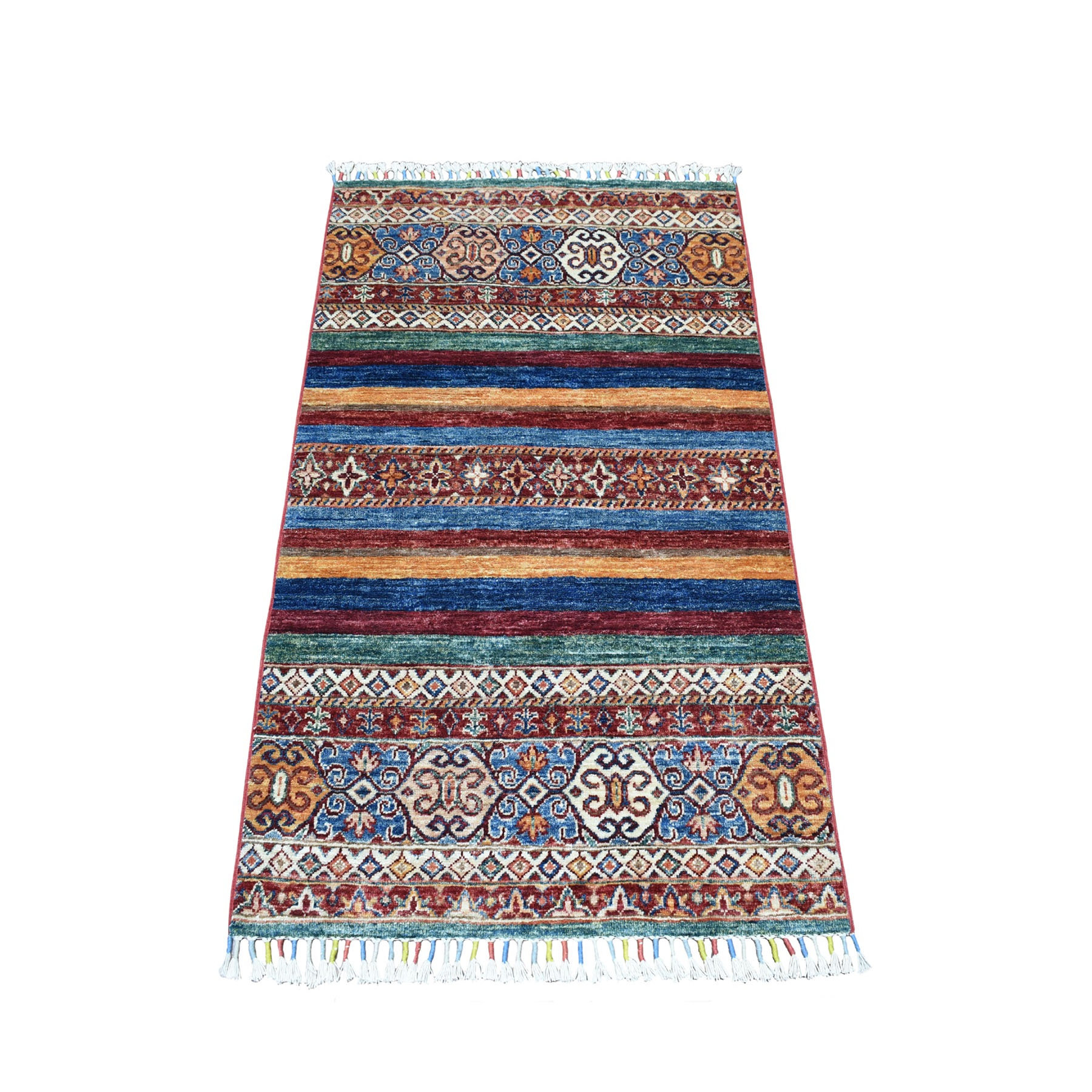 "2'6""X4'1"" Khorjin Design Colorful Super Kazak Pure Wool Hand Knotted Oriental Rug moaeb0e7"