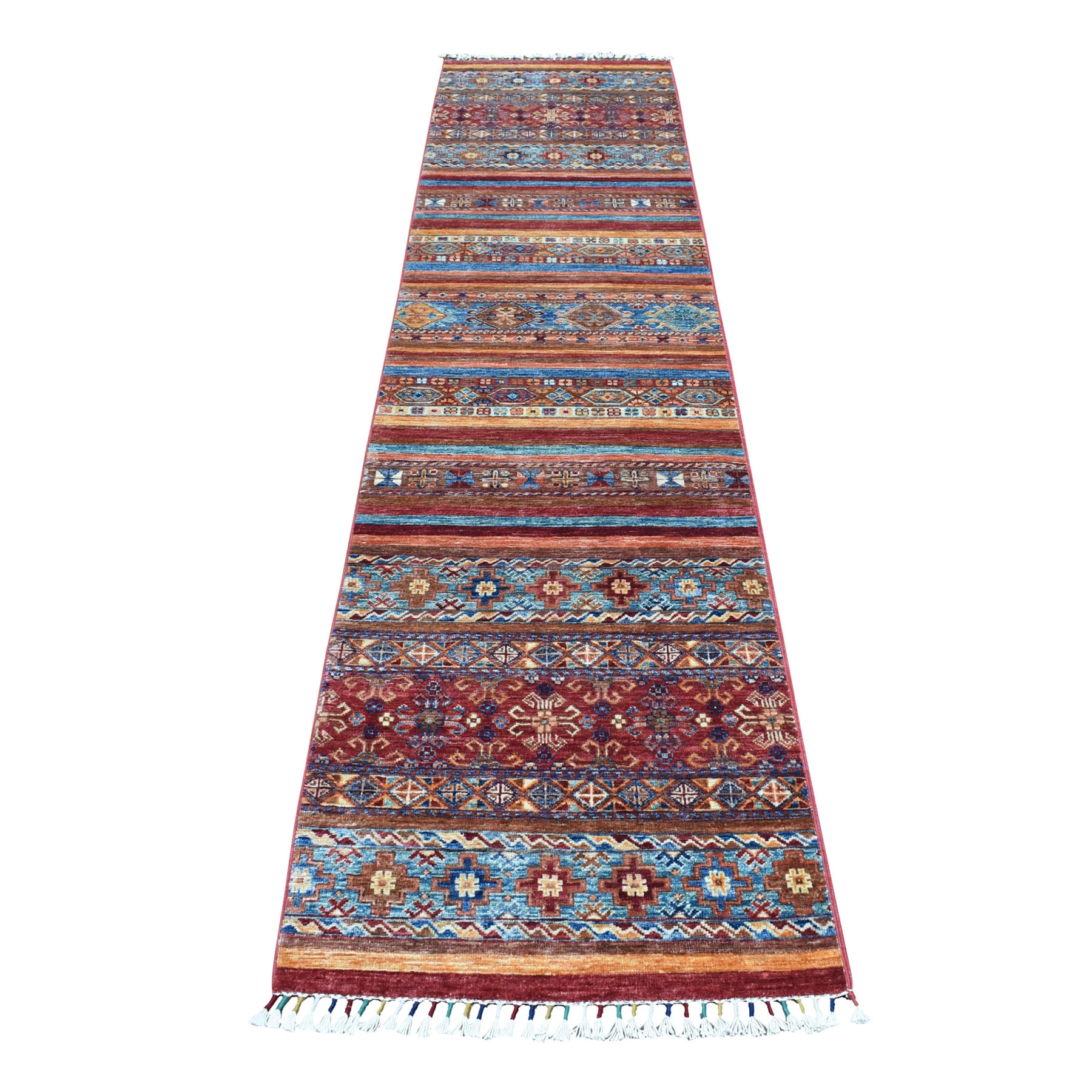"2'4""X10'3"" Khorjin Design Colorful Super Kazak Pure Wool Runner  Hand Knotted Oriental Rug moaeb0e8"