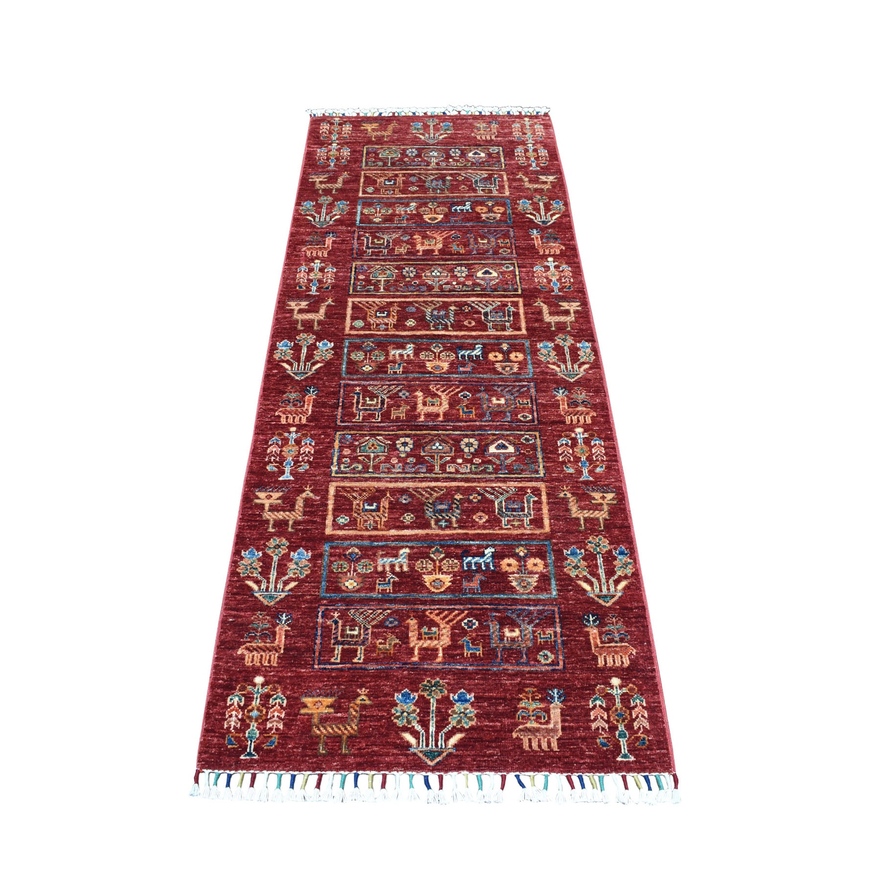 "2'6""X6'10"" Khorjin Design Red Super Kazak With Animals Pure Wool Runner  Hand Knotted Oriental Rug moaeb0e9"